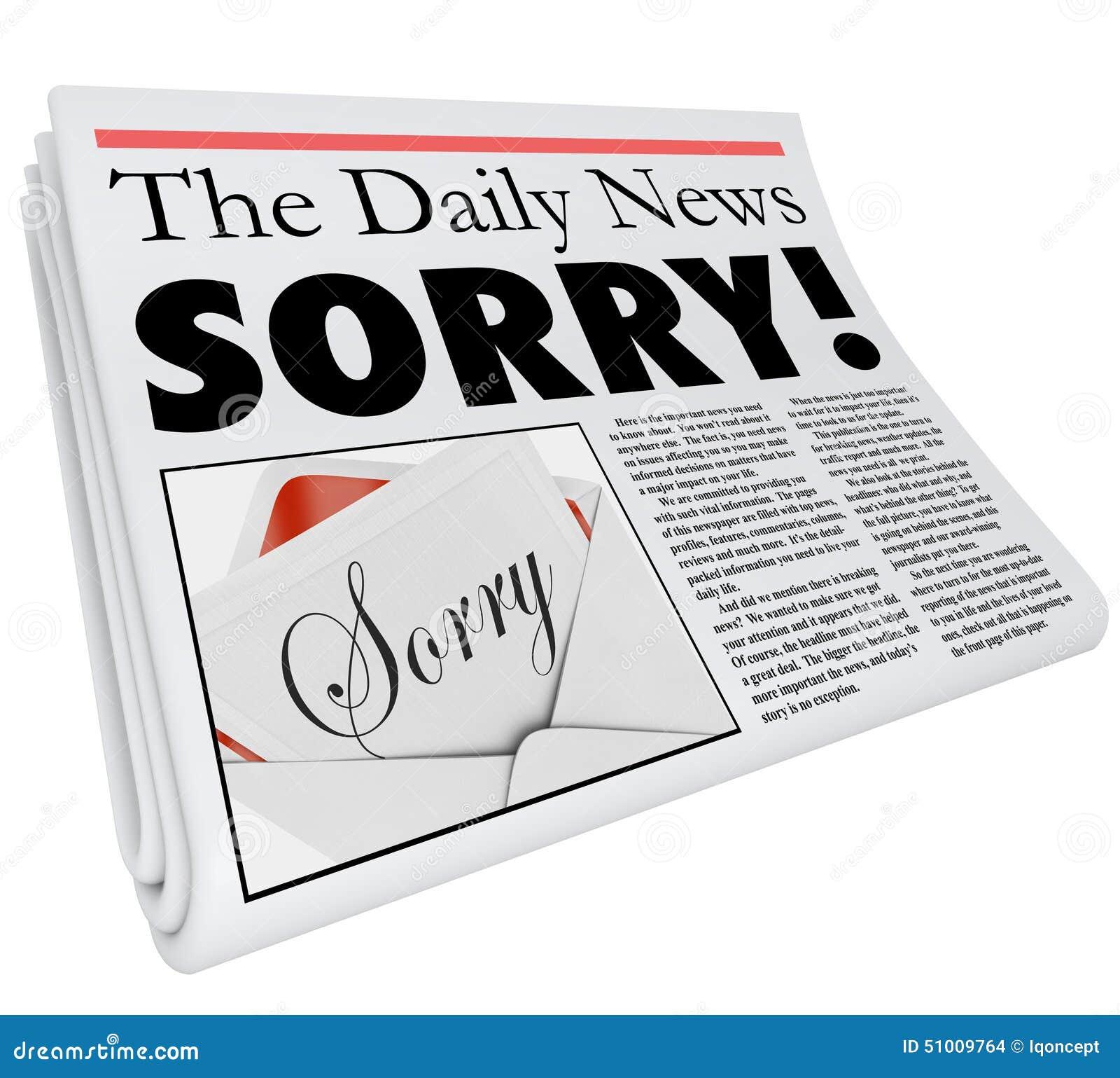 抱歉的词报纸大标题道歉错误坏报告