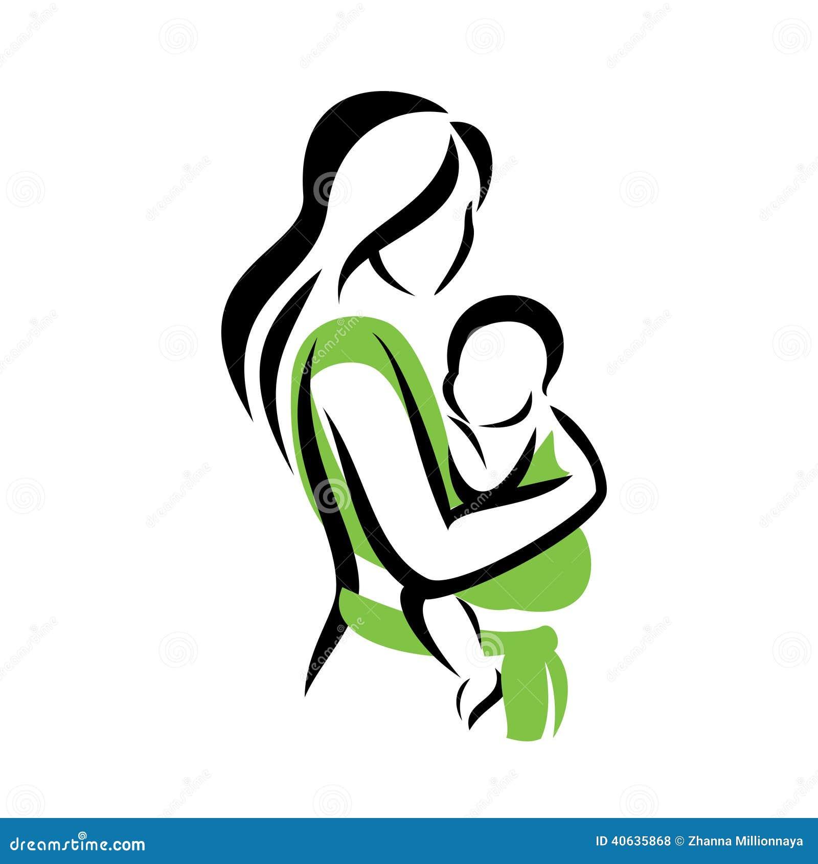 抱着她的吊索的妈妈婴孩
