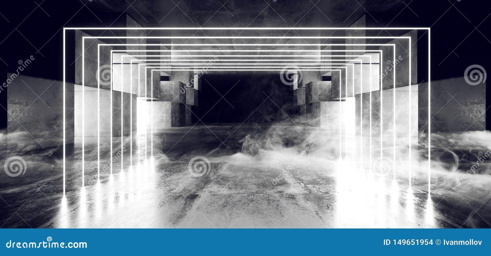 抽未来霓虹灯图表发光的白色真正科学幻想小说未来派隧道演播室阶段建筑车库指挥台太空飞船