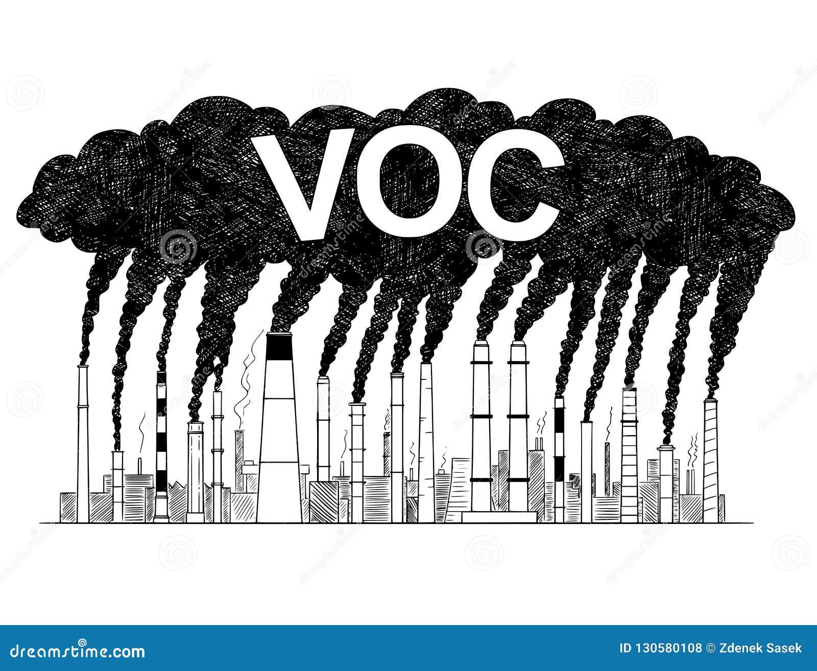 抽烟的烟窗的传染媒介艺术性的画的例证,产业生产的挥发性有机化合物的概念