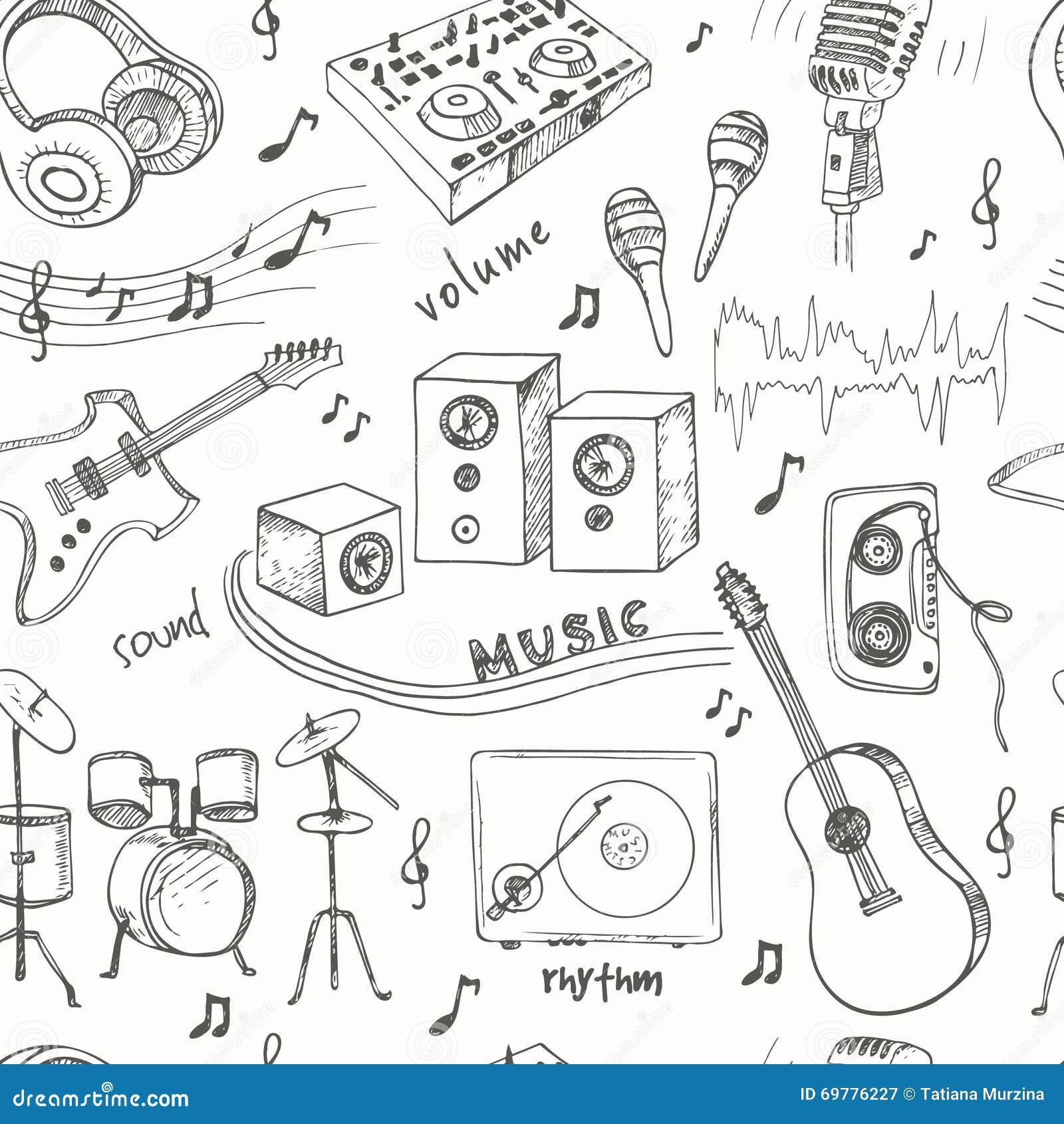 乐器简笔画_抽象与乐器的音乐无缝的样式 手图画乱画,传染媒介例证 有用为礼品券
