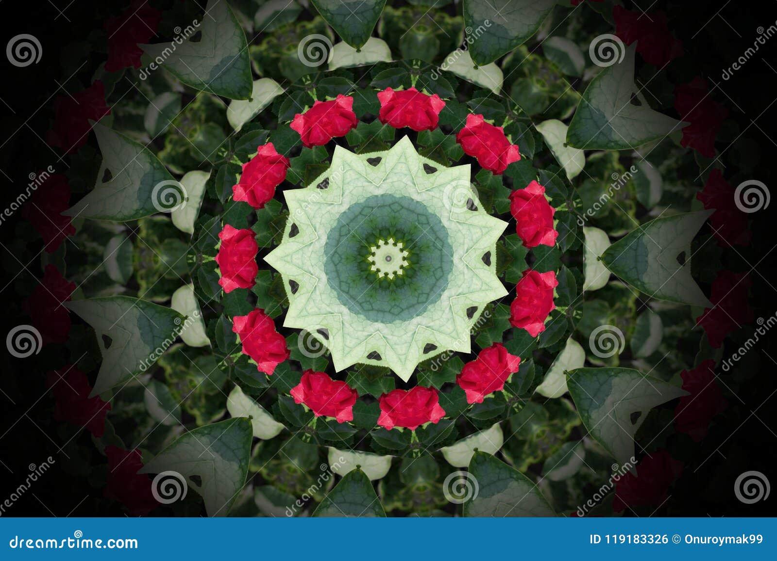 抽象五颜六色的圈子坛场和万花筒样式ba的