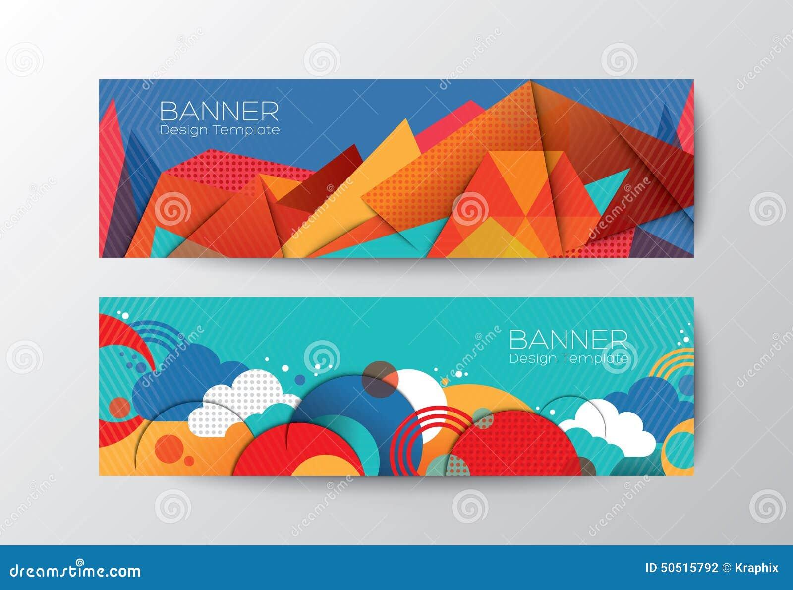 抽象五颜六色的多角形横幅设计模板