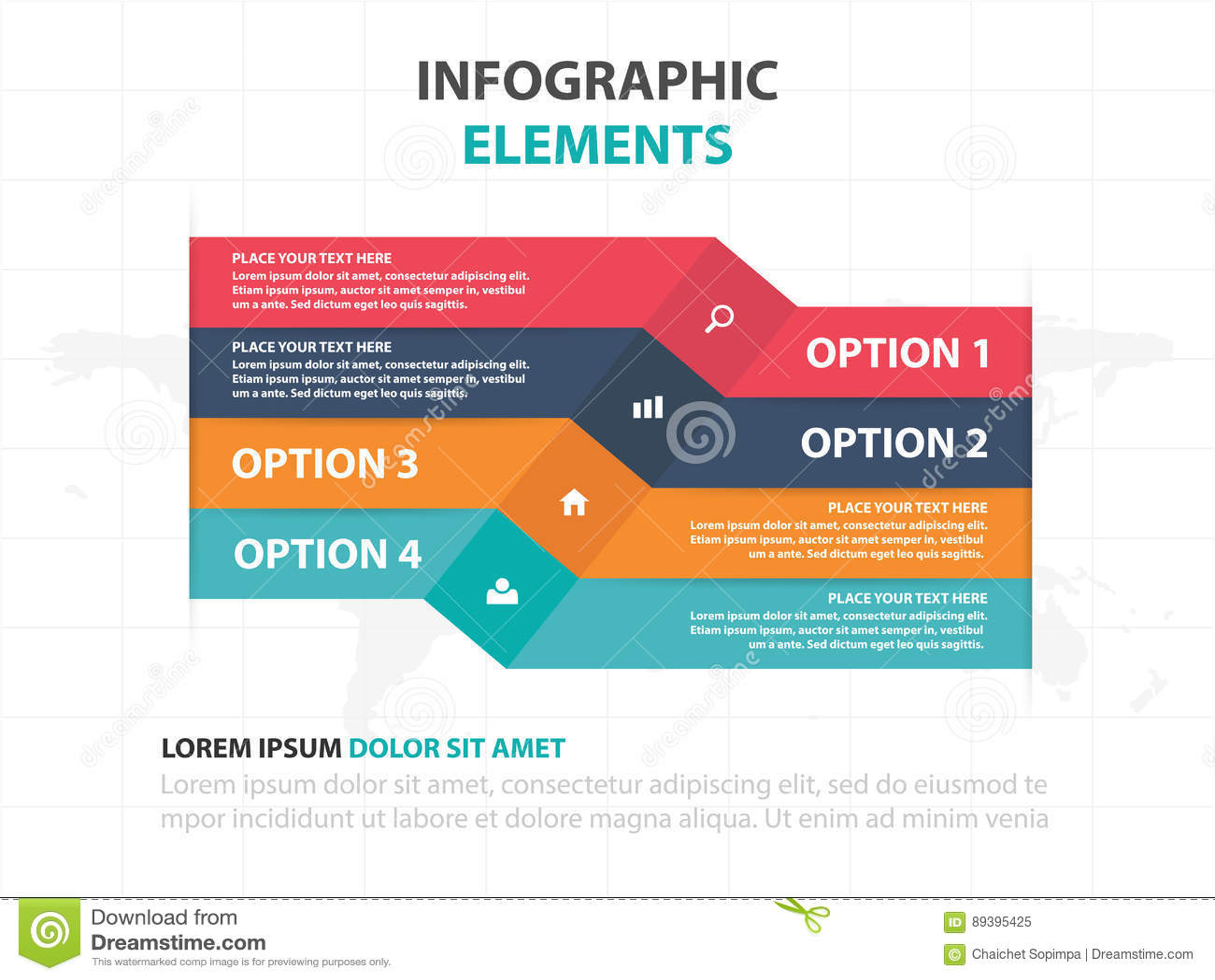 抽象五颜六色的标签企业时间安排Infographics元素,网的介绍模板平的设计传染媒介例证
