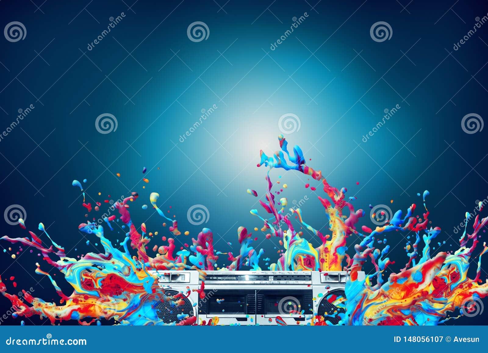 抽象五颜六色的油漆飞溅迪斯科音乐背景