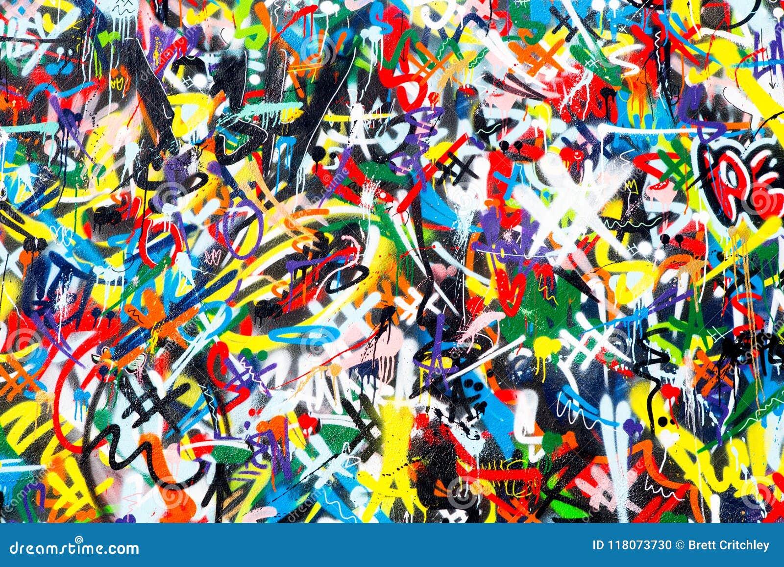 抽象五颜六色的街道画墙壁背景
