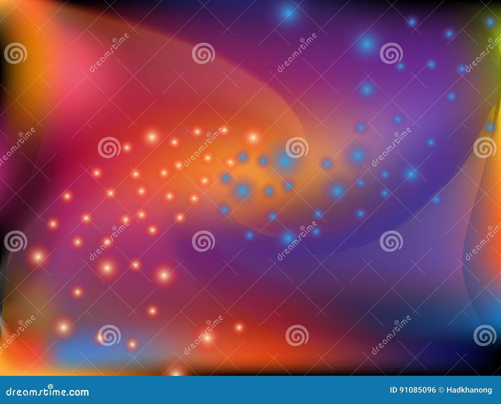 抽象五颜六色的转弯形状和眨眼睛小点