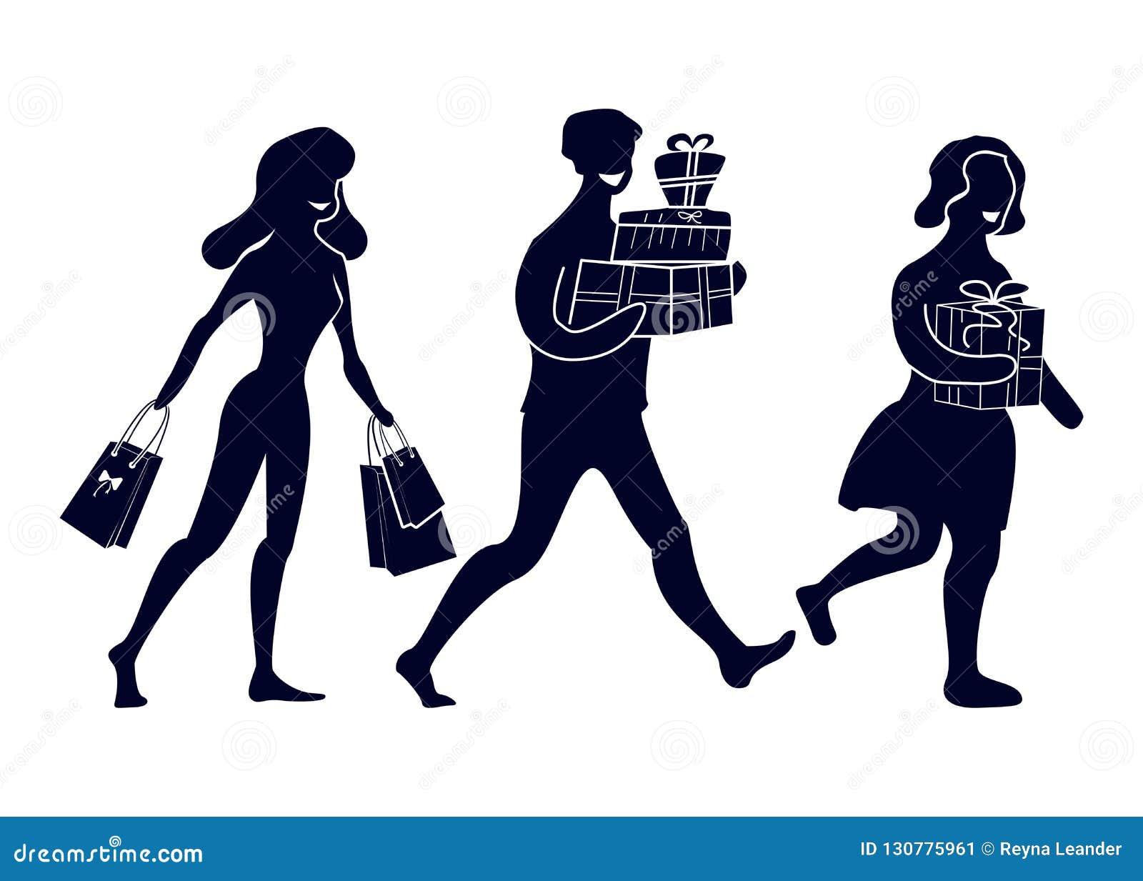 抽象人剪影有购买和礼物的 去的愉快的买家