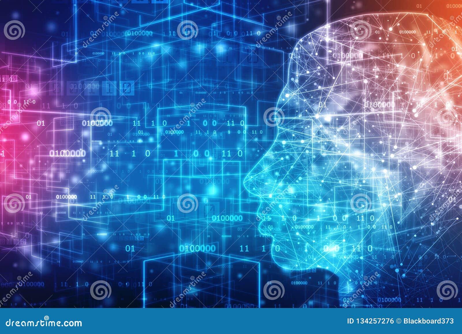 抽象人工智能 创造性的脑子概念,技术网背景