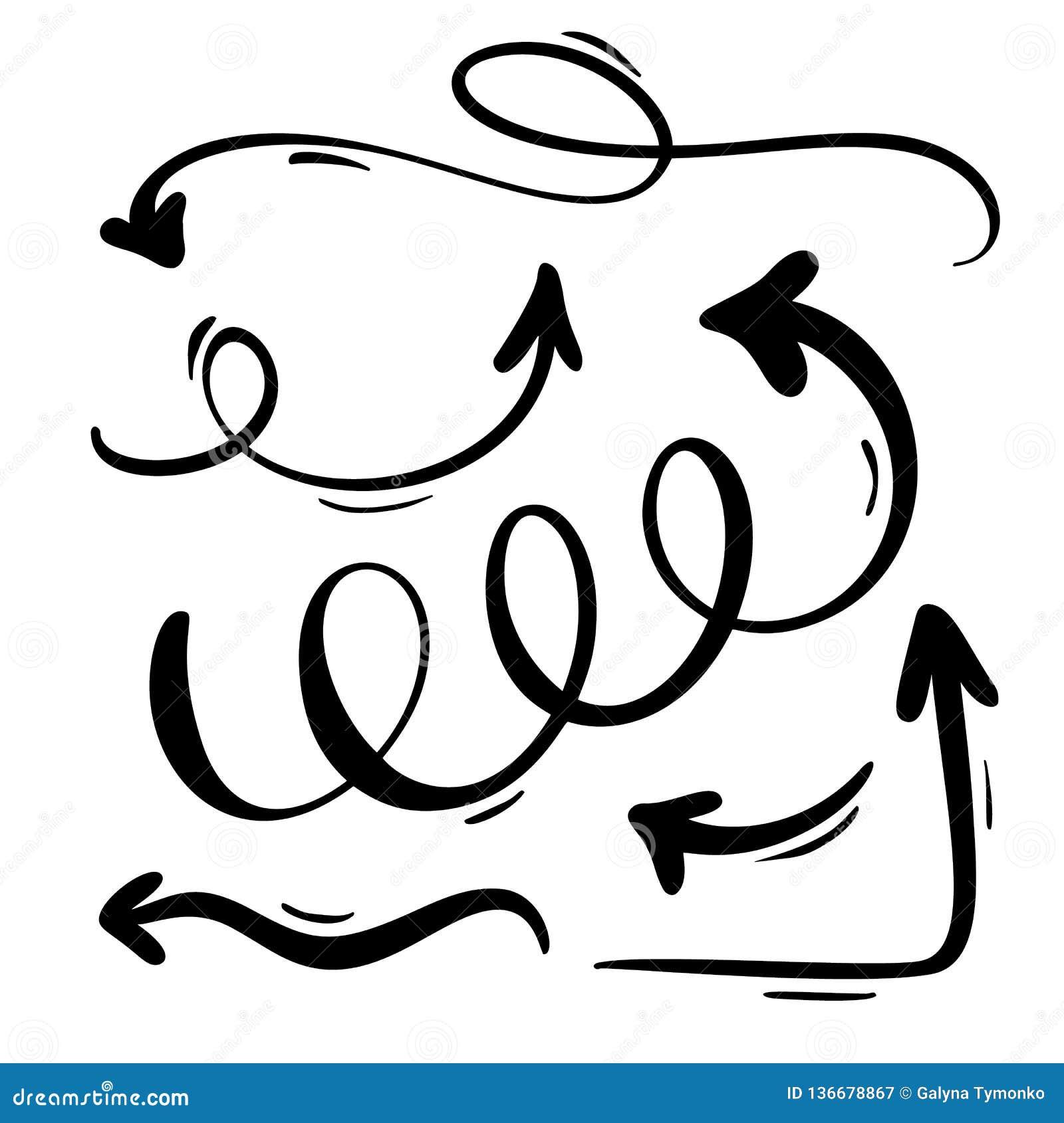 抽象传染媒介箭头集合 乱画手工制造标志样式 笔记的,经营计划,图表被隔绝的剪影例证