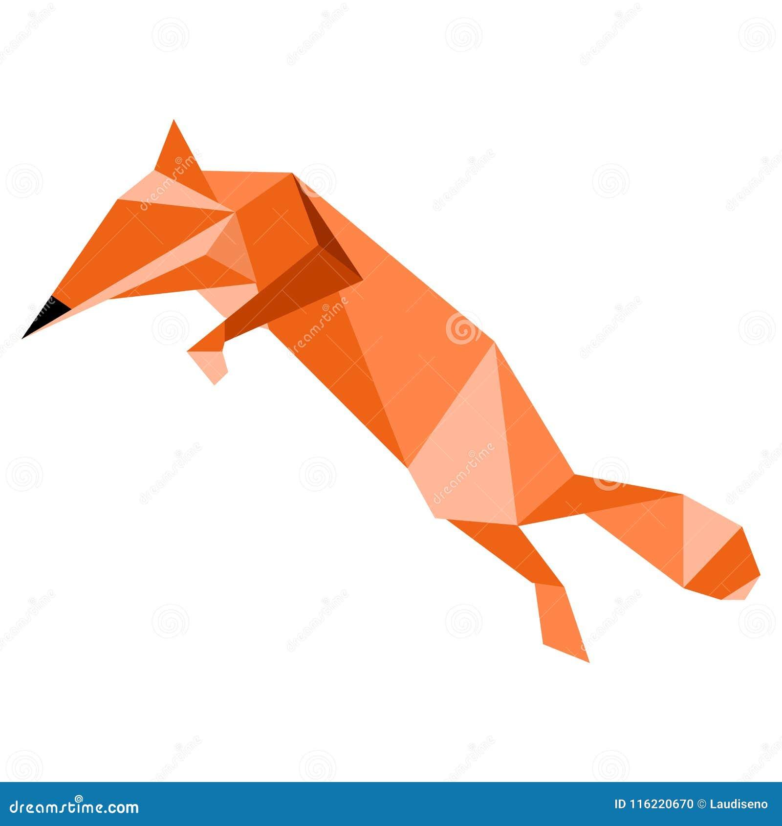 狐狸色中国片_抽象低多狐狸象. 例证, 逗人喜爱.