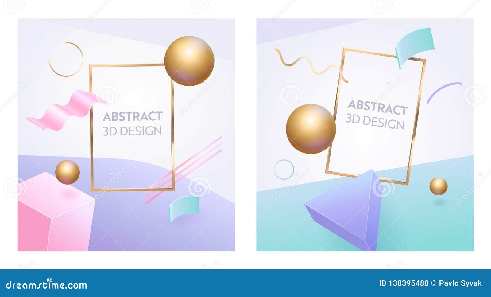 抽象几何图框架3d横幅集合 数字图表球形塑造给的营销海报做广告背景