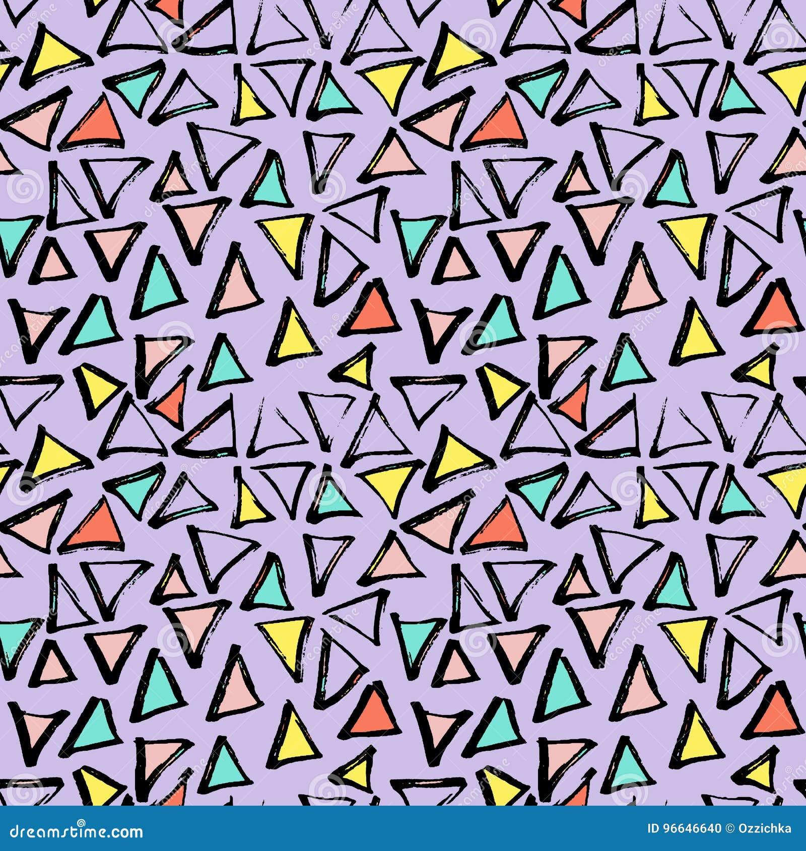 抽象几何无缝的手拉的样式 现代无权纹理 五颜六色的几何乱画背景