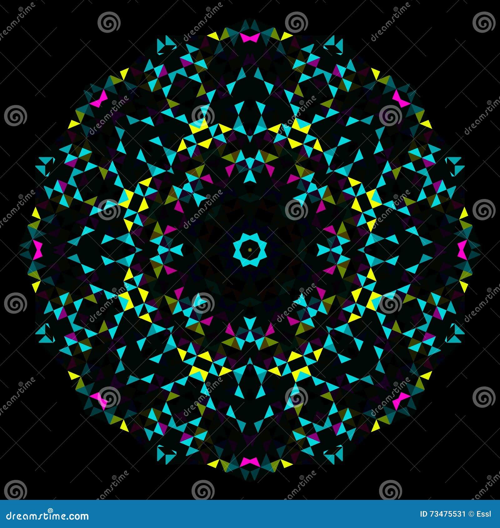 抽象几何明亮的万花筒样式