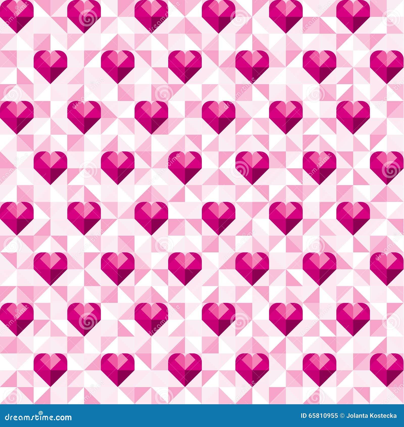抽象几何桃红色心脏样式