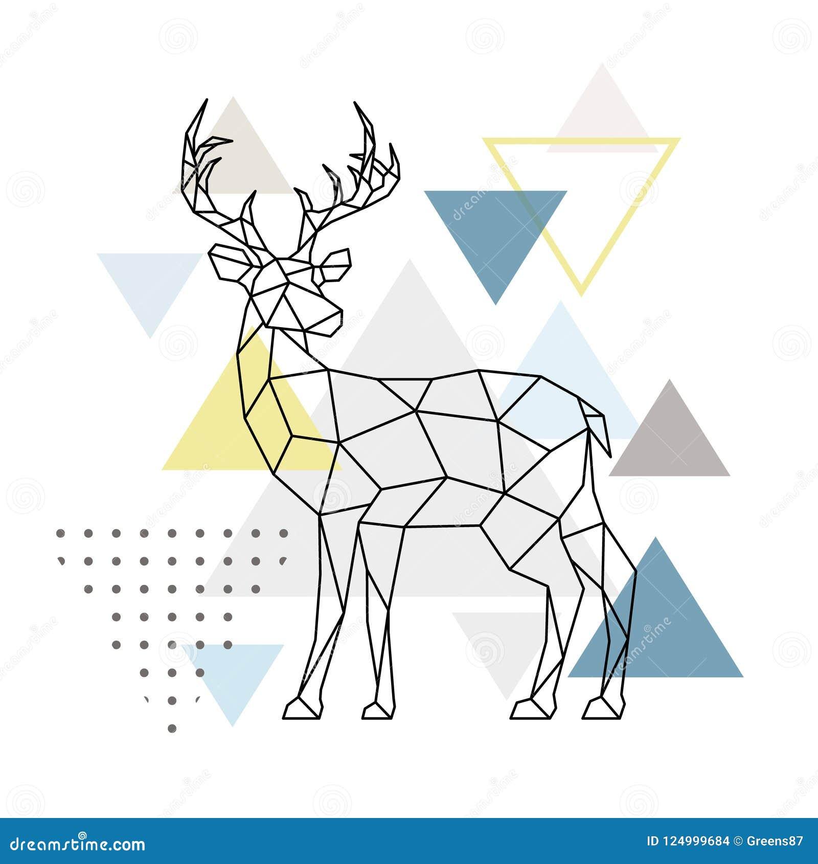 抽象几何鹿 侧视图