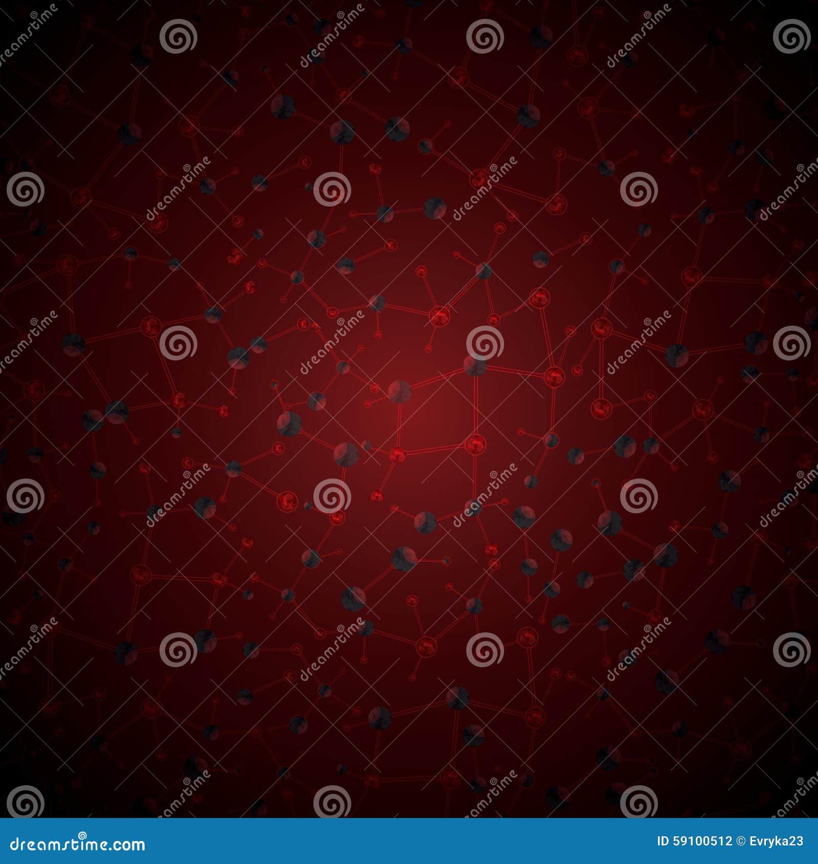 抽象分子红色发光的背景
