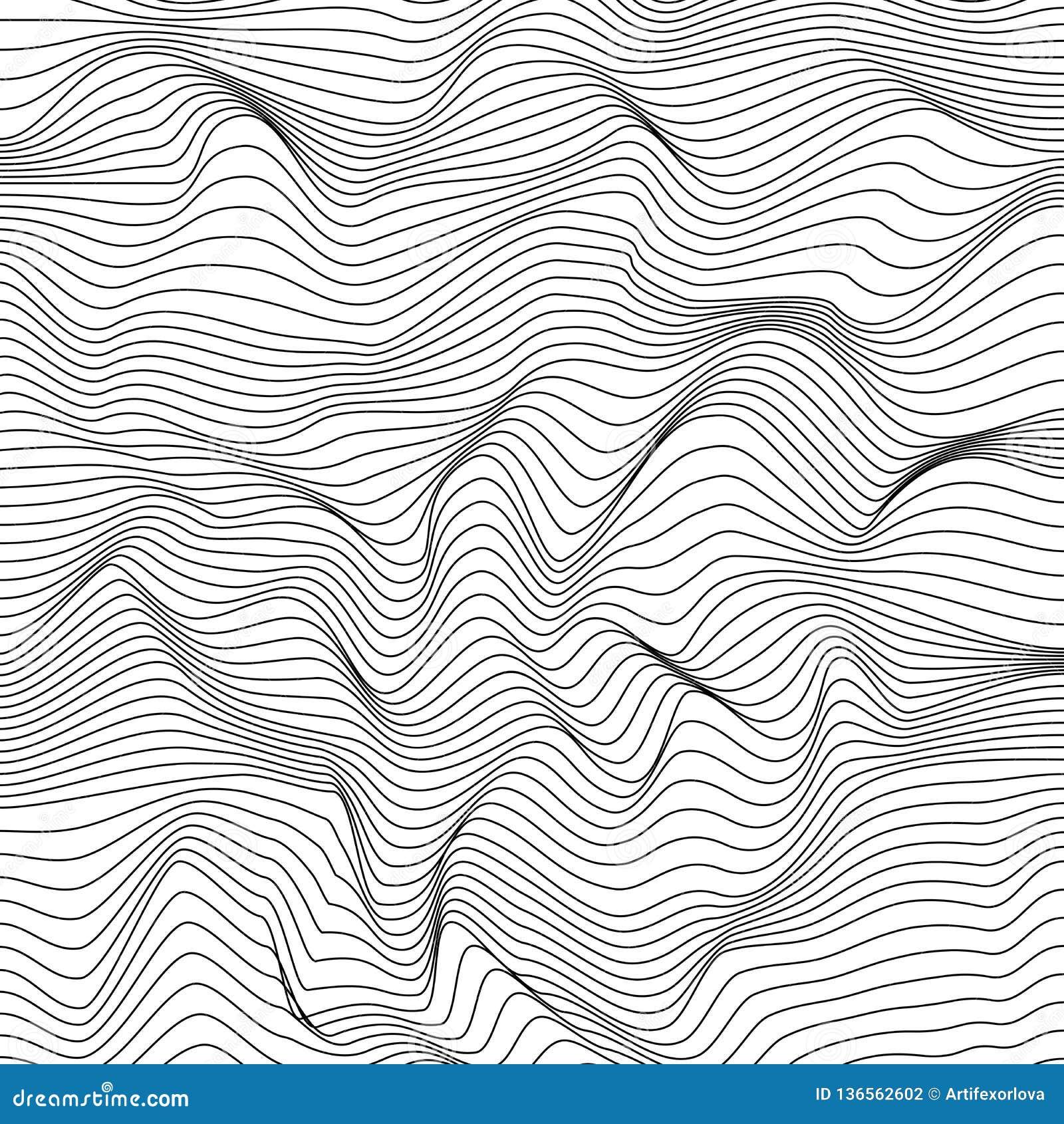 抽象动态起波纹的表面 黑白wireframe波浪条纹 10 eps
