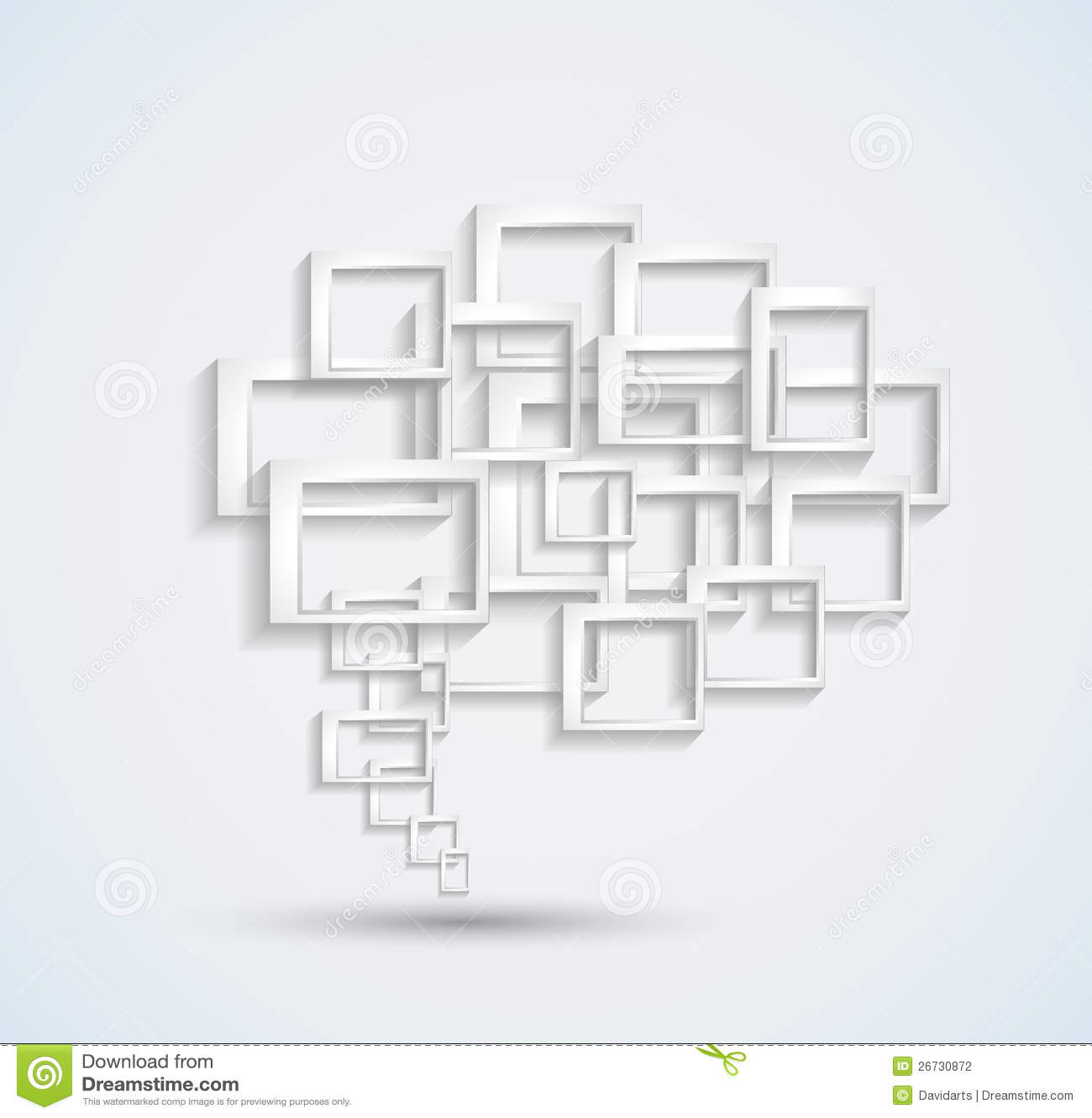 与概念性讲话泡影的抽象名片背景由与阴影的三维正方形做成.图片