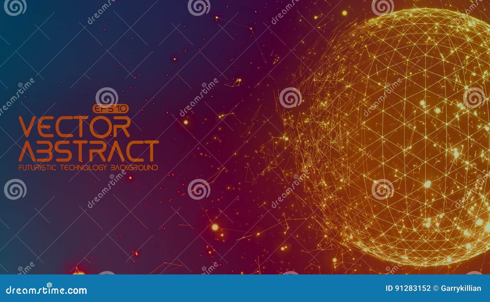 抽象向量空间五颜六色的背景 混乱被连接的飞行在空间的点和多角形 飞行碎片