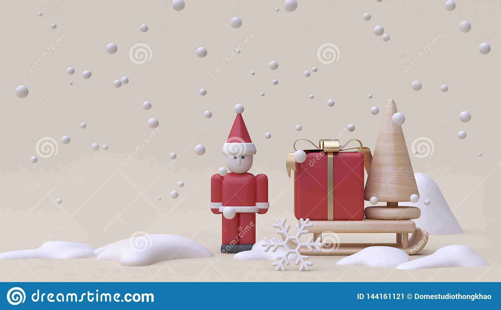 抽象圣诞老人项目和礼物盒雪撬冬天雪新年概念动画片样式木玩具最小的奶油色背景3d回报
