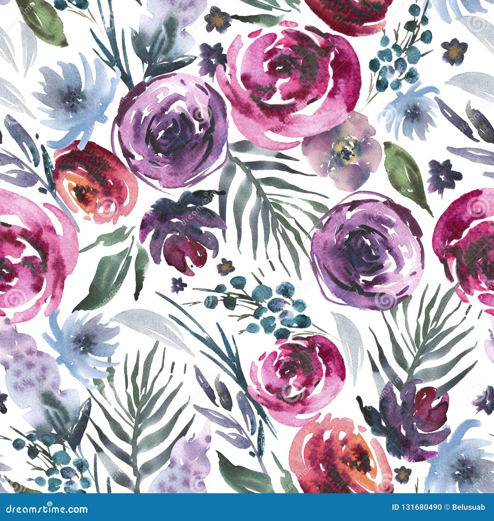 抽象在la prima样式的水彩花卉无缝的样式,红色水彩玫瑰-花,枝杈,叶子,芽 手画