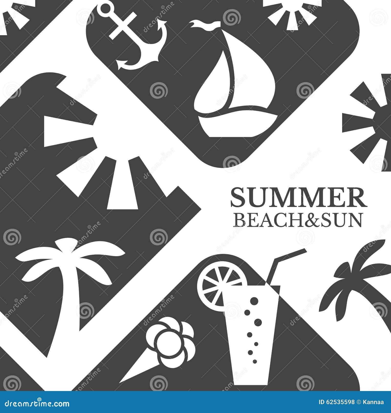 抽象夏天菜单例证 海滩和太阳