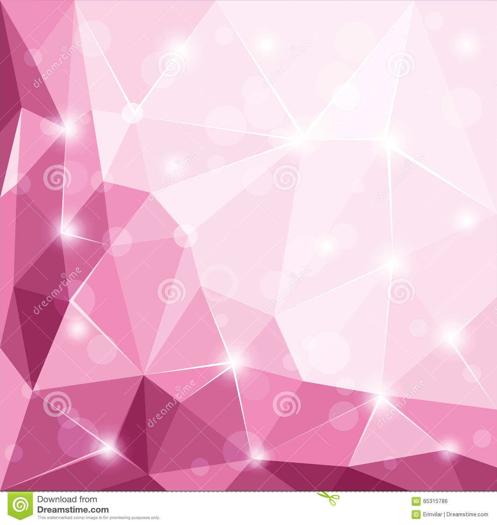 抽象多角形几何小平面发光的桃红色背景例证