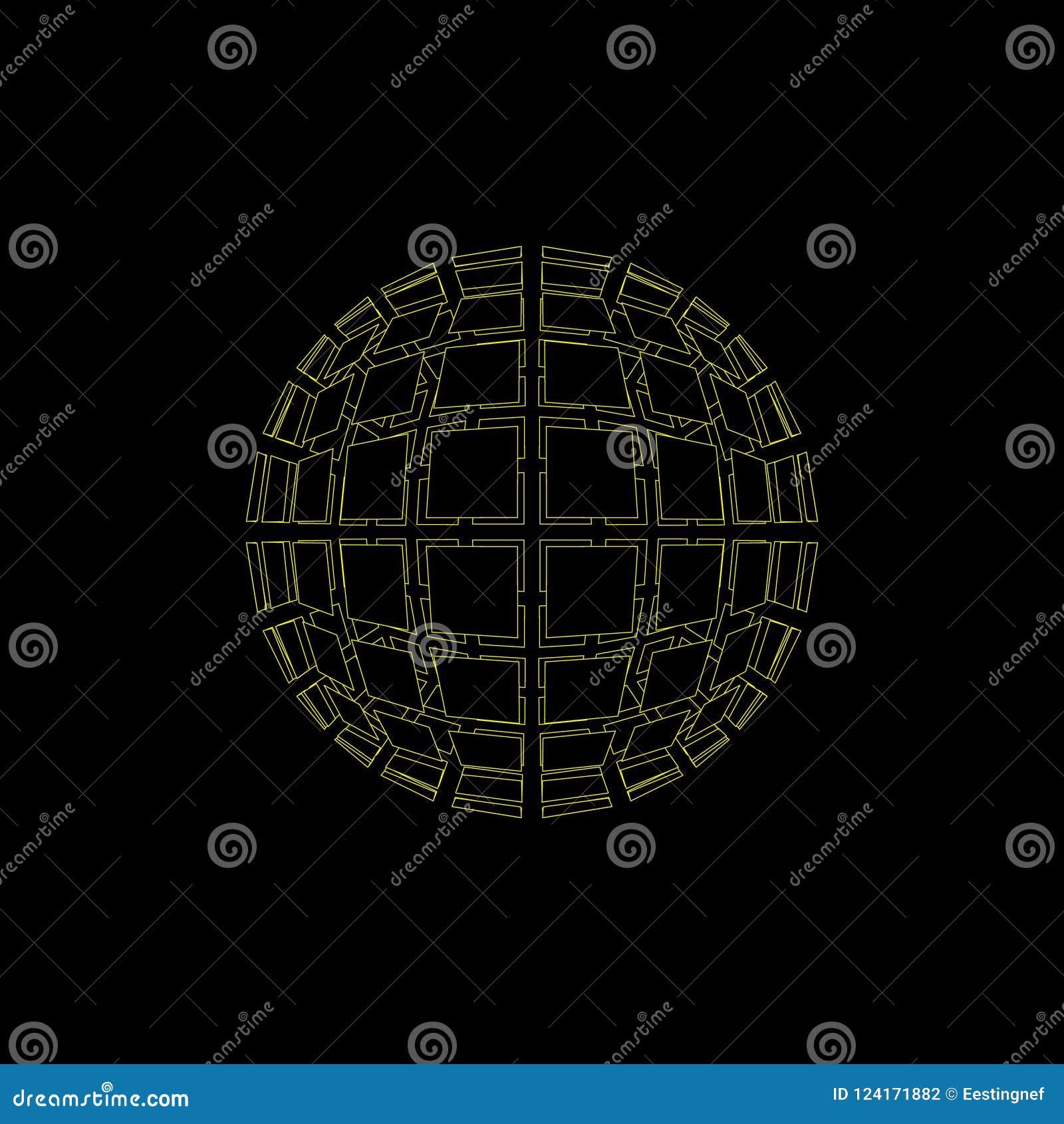 抽象多角形打破的球形 查出在黑色背景 Ve