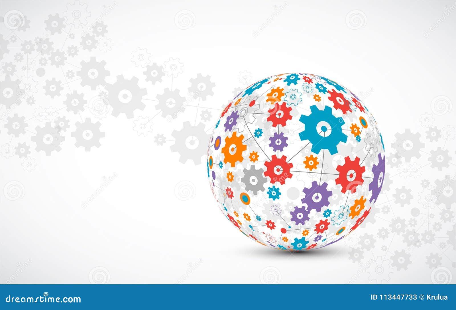 抽象技术球形背景 全球网络概念