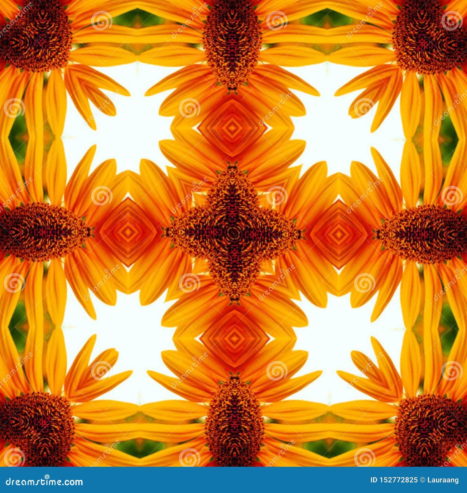 抽象数字艺术颜色本质上 黄色花