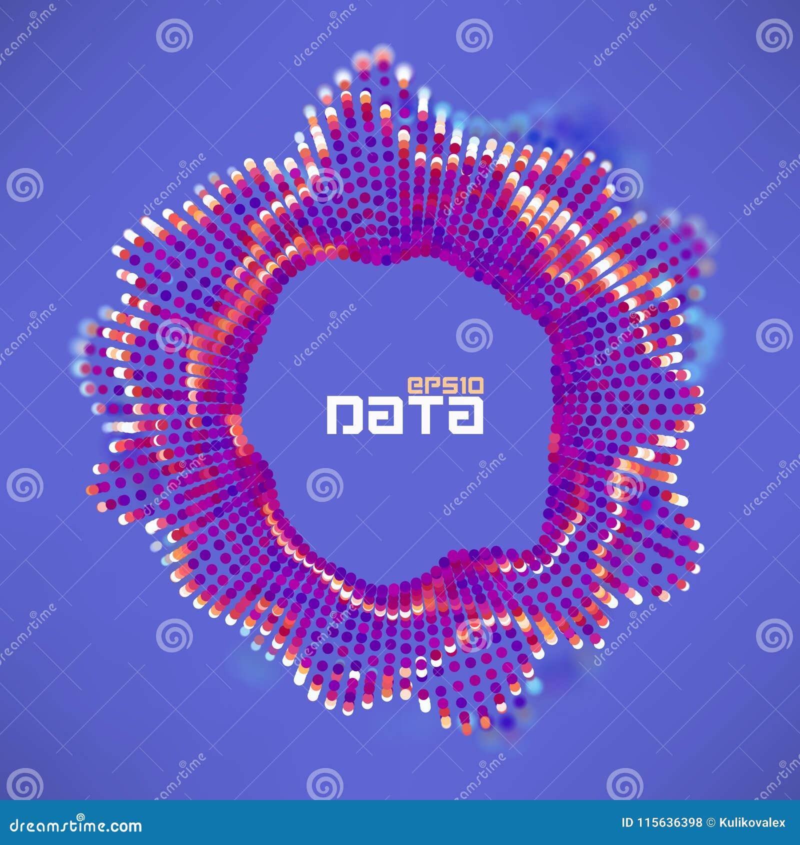 抽象数据球形动荡波浪 微粒流动科学未来派形象化 合理的波纹