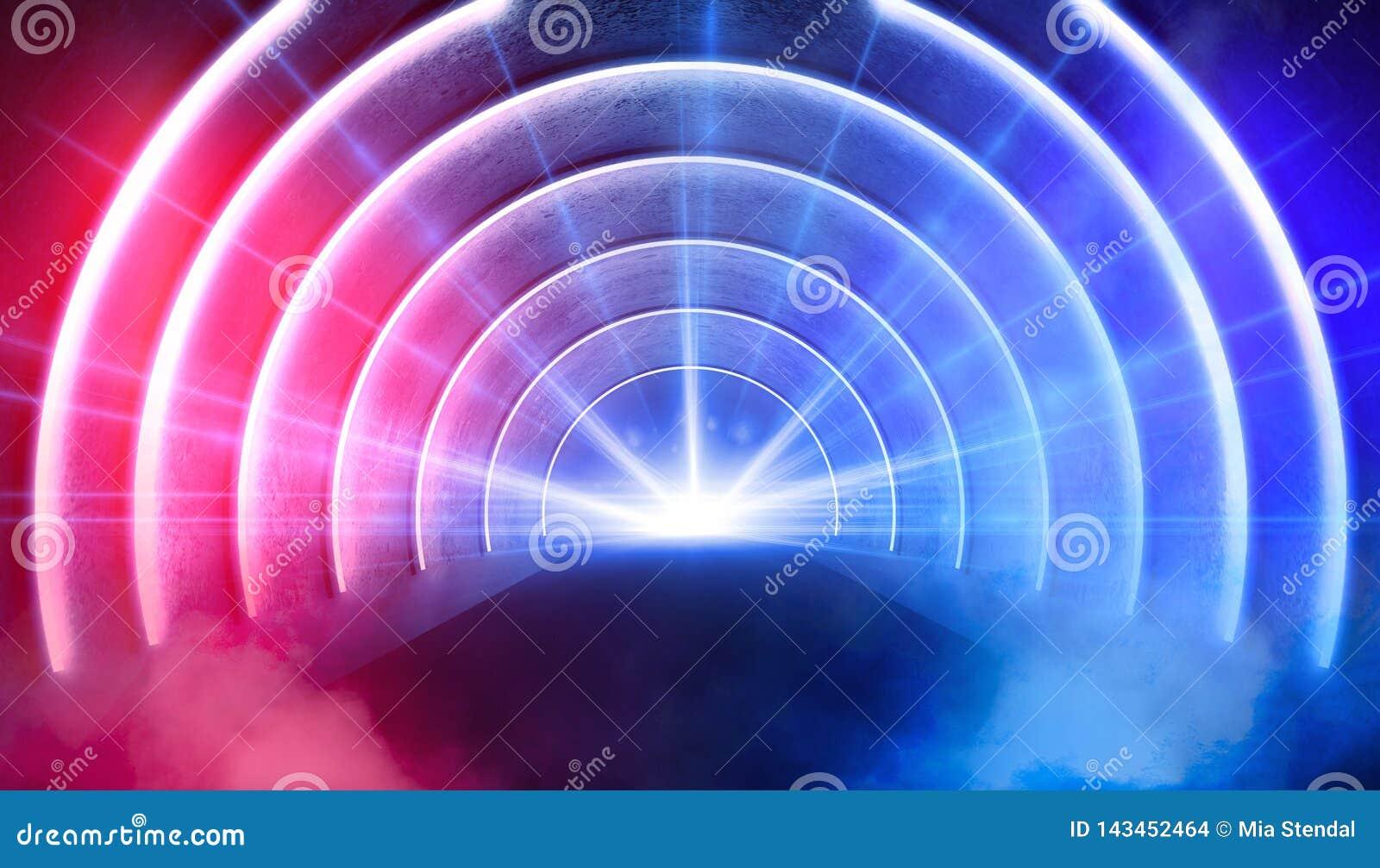 抽象曲拱,隧道,霓虹灯,光芒 3d回报