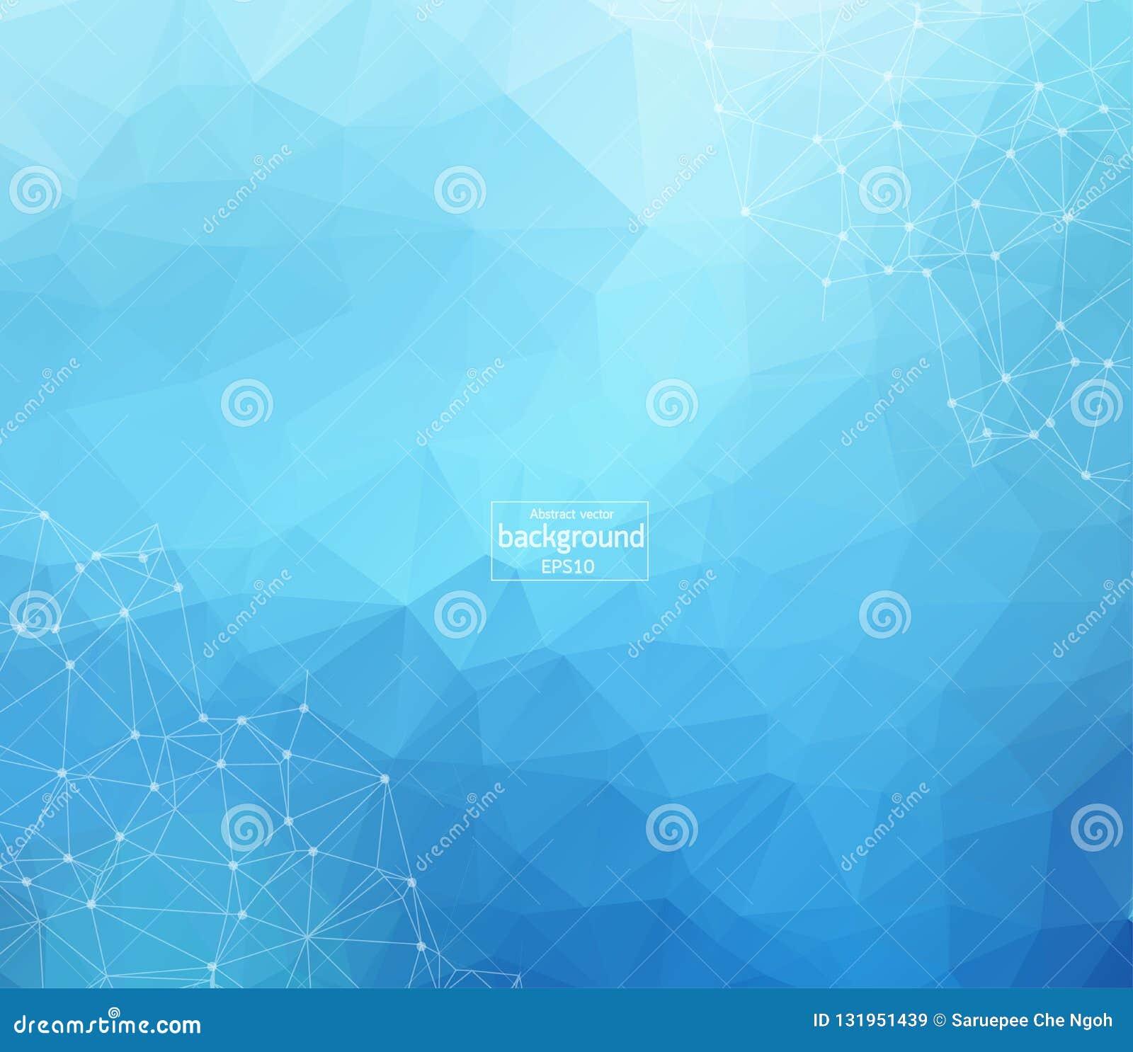 抽象未来派-与线性和多角形样式的分子技术在深蓝背景塑造 例证传染媒介d