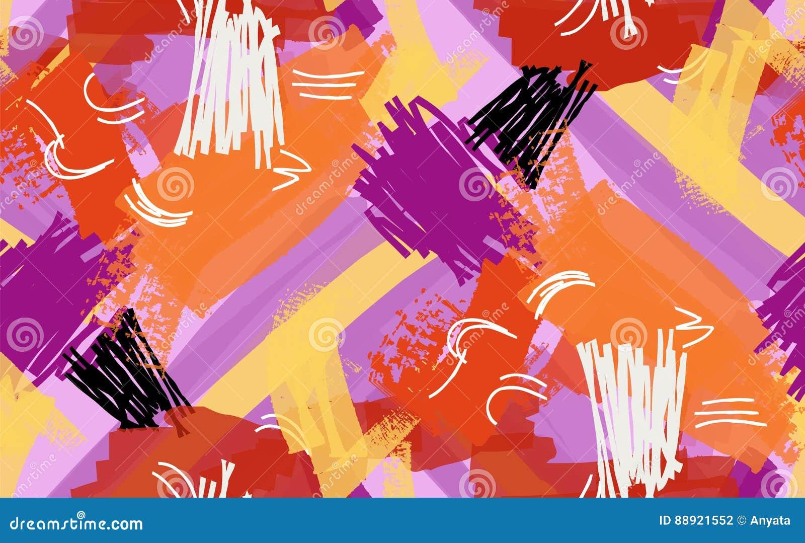 抽象标志和墨水冲程紫色橙黄色