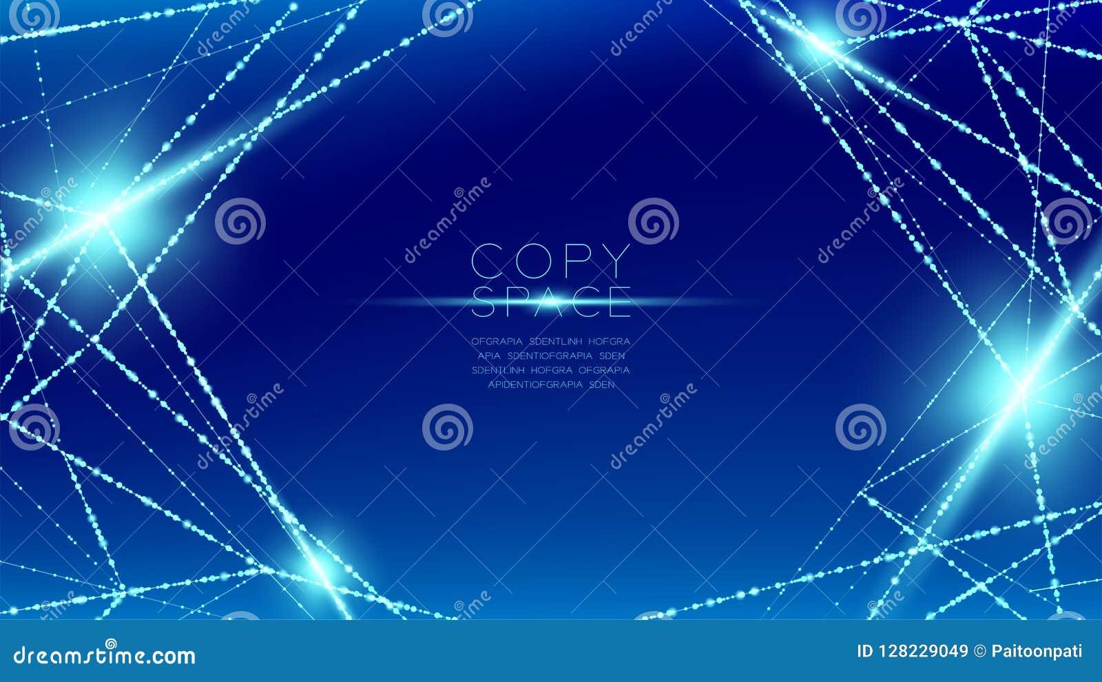 抽象样式wireframe多角形bokeh光框架结构和透镜飘动, Blockchain cryptocurrency构思设计illustrati
