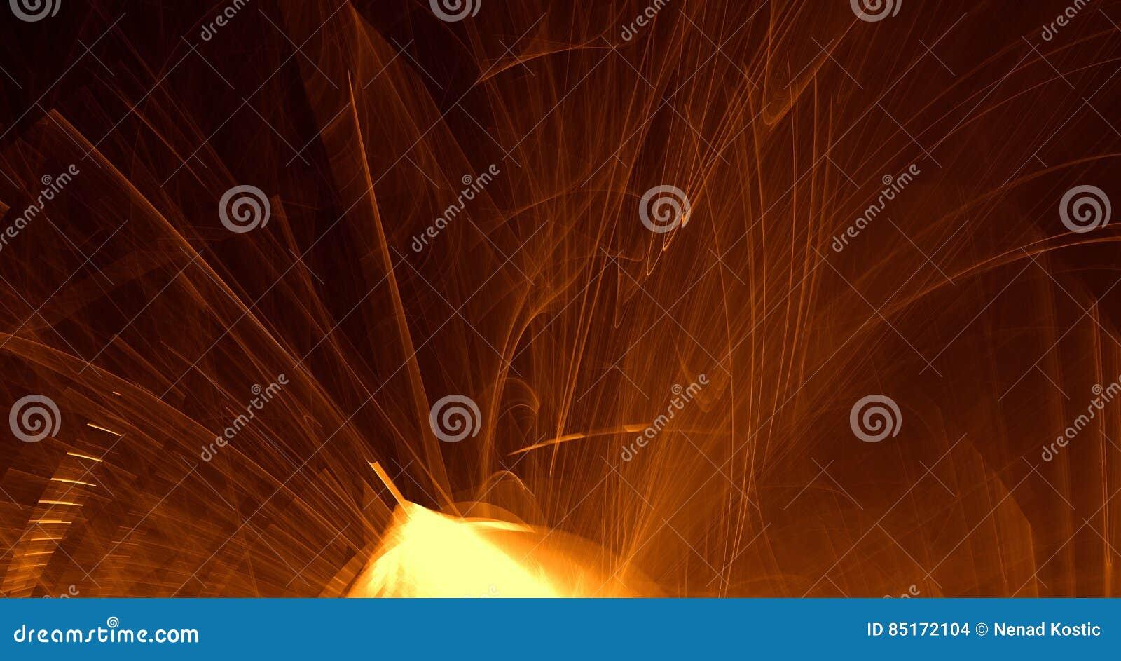 抽象橙色,黄色,金光发光,射线,在黑暗的背景的形状
