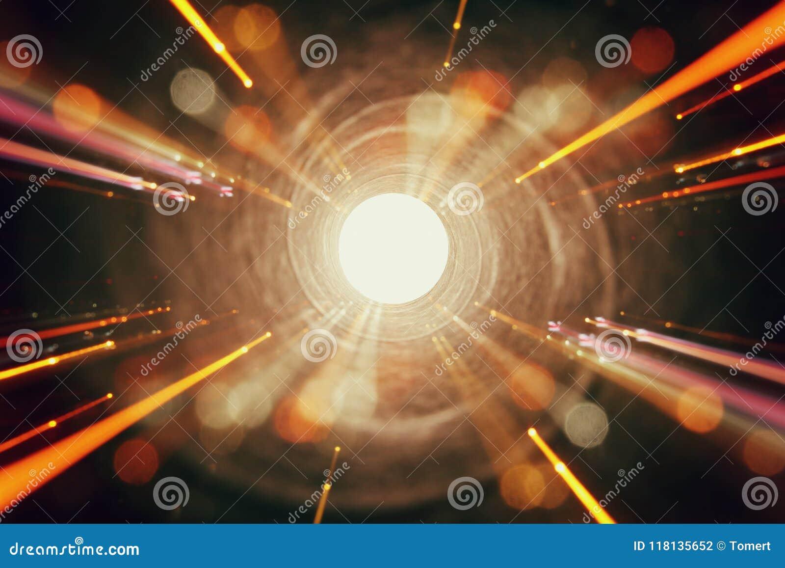 抽象火光透镜 空间或时间在暗色和明亮的光的旅行背景的概念图象