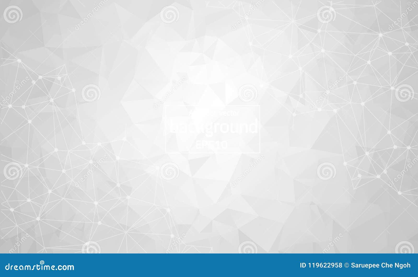 抽象灰色轻的几何多角形背景分子和通信 与小点的被连接的线 科学的概念,