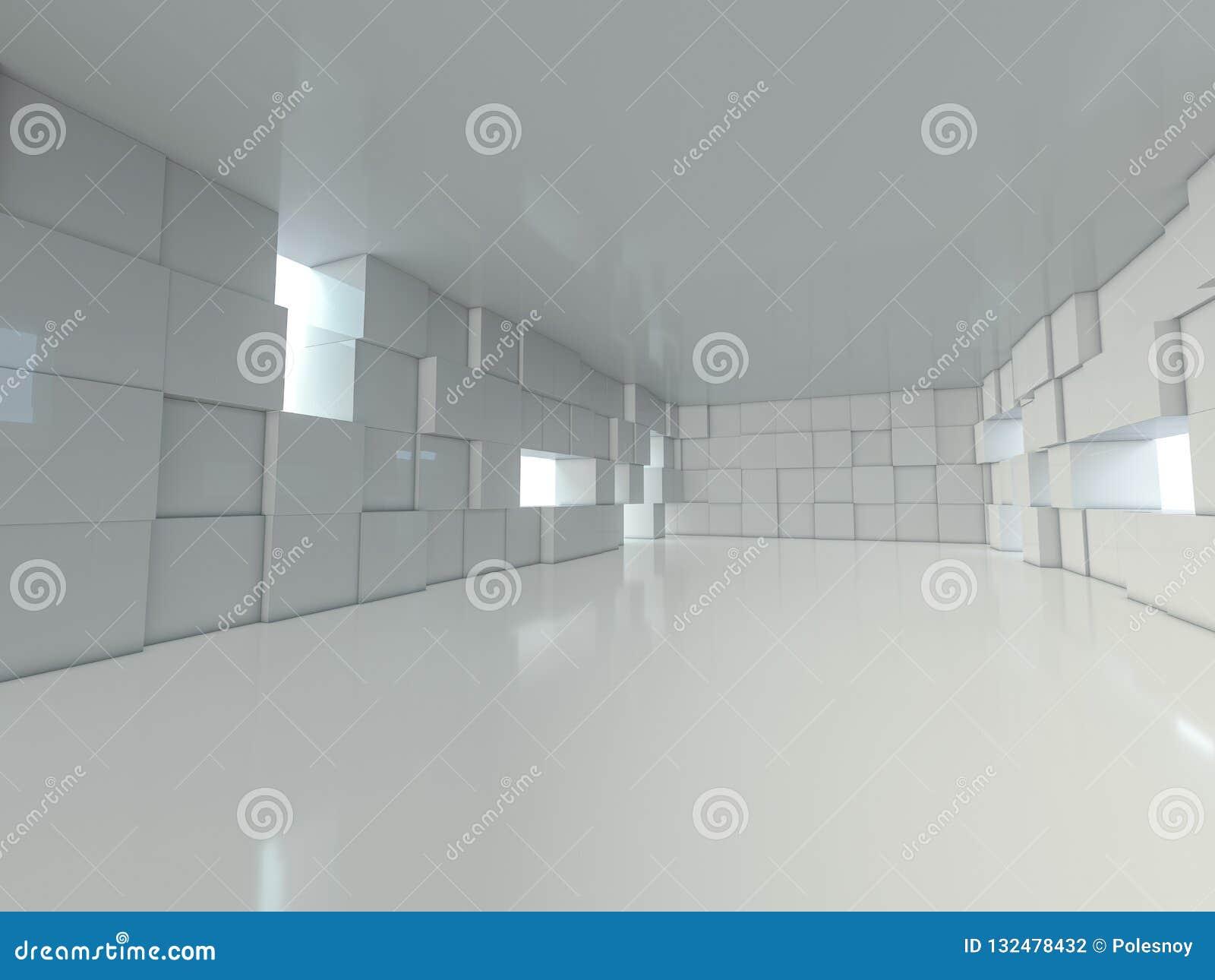 抽象现代建筑学背景,空的露天场所内部 3d