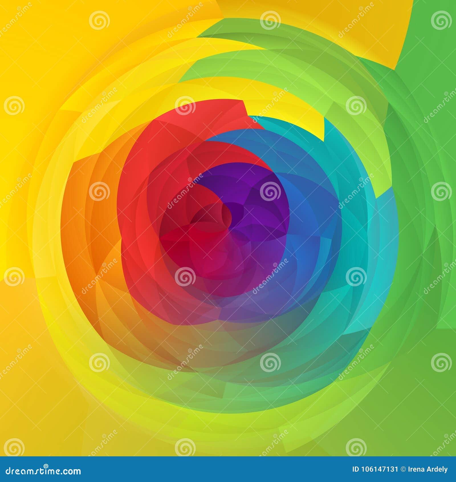 抽象现代艺术几何漩涡背景光谱彩虹上色了-新春天颜色