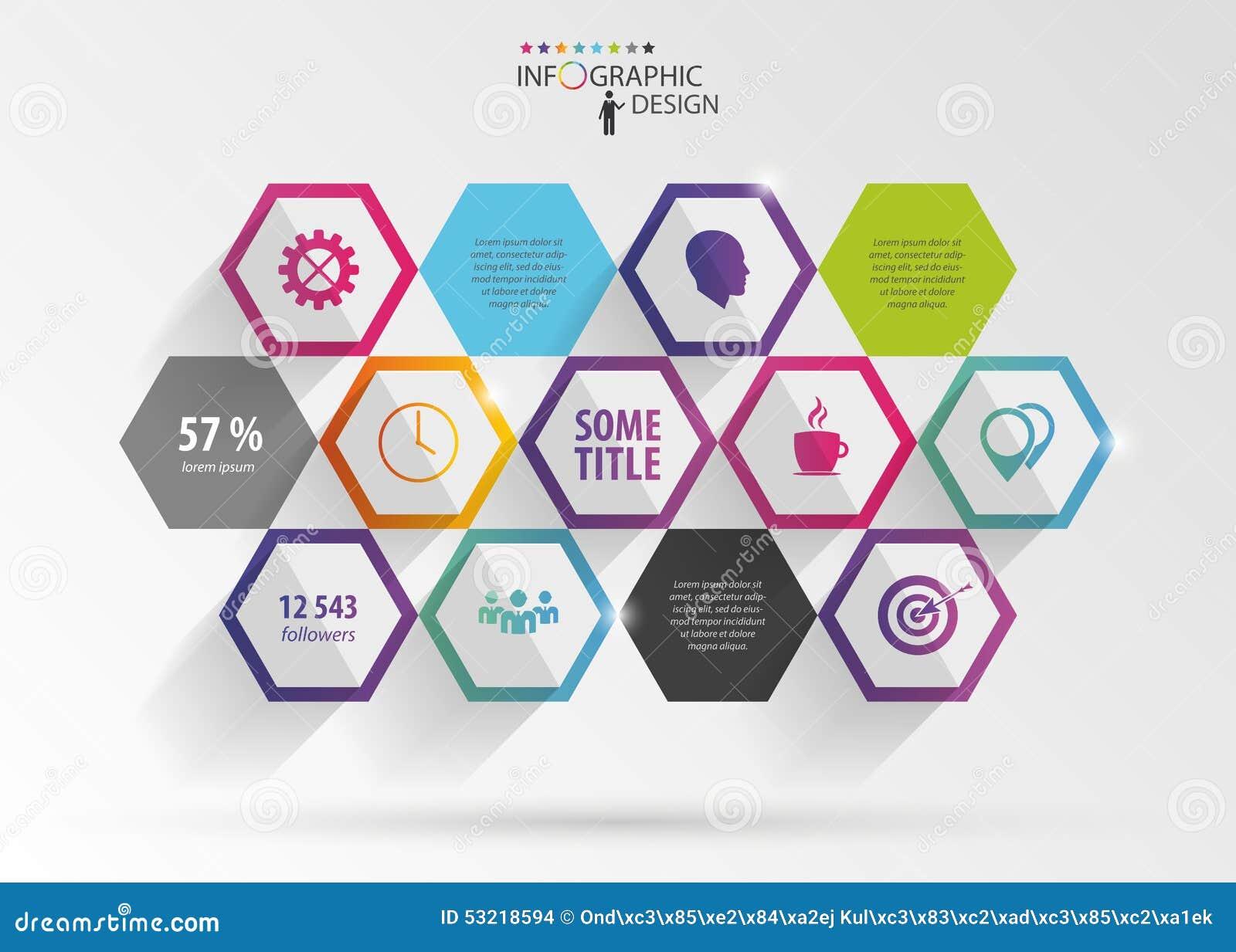 抽象现代六角infographic 3d数字式例证