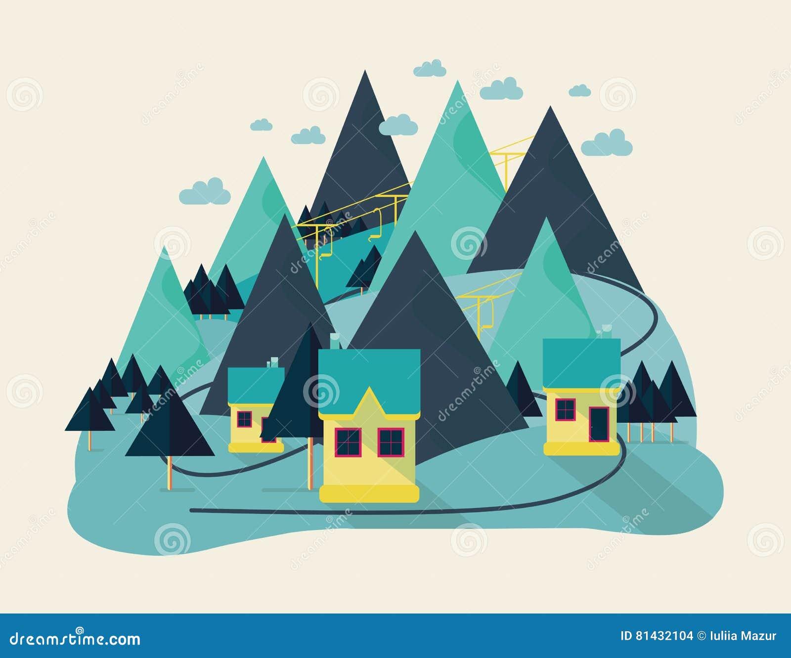 抽象田园诗村庄,与领域,房子,森林,河的农村风景平的eco设计小山的