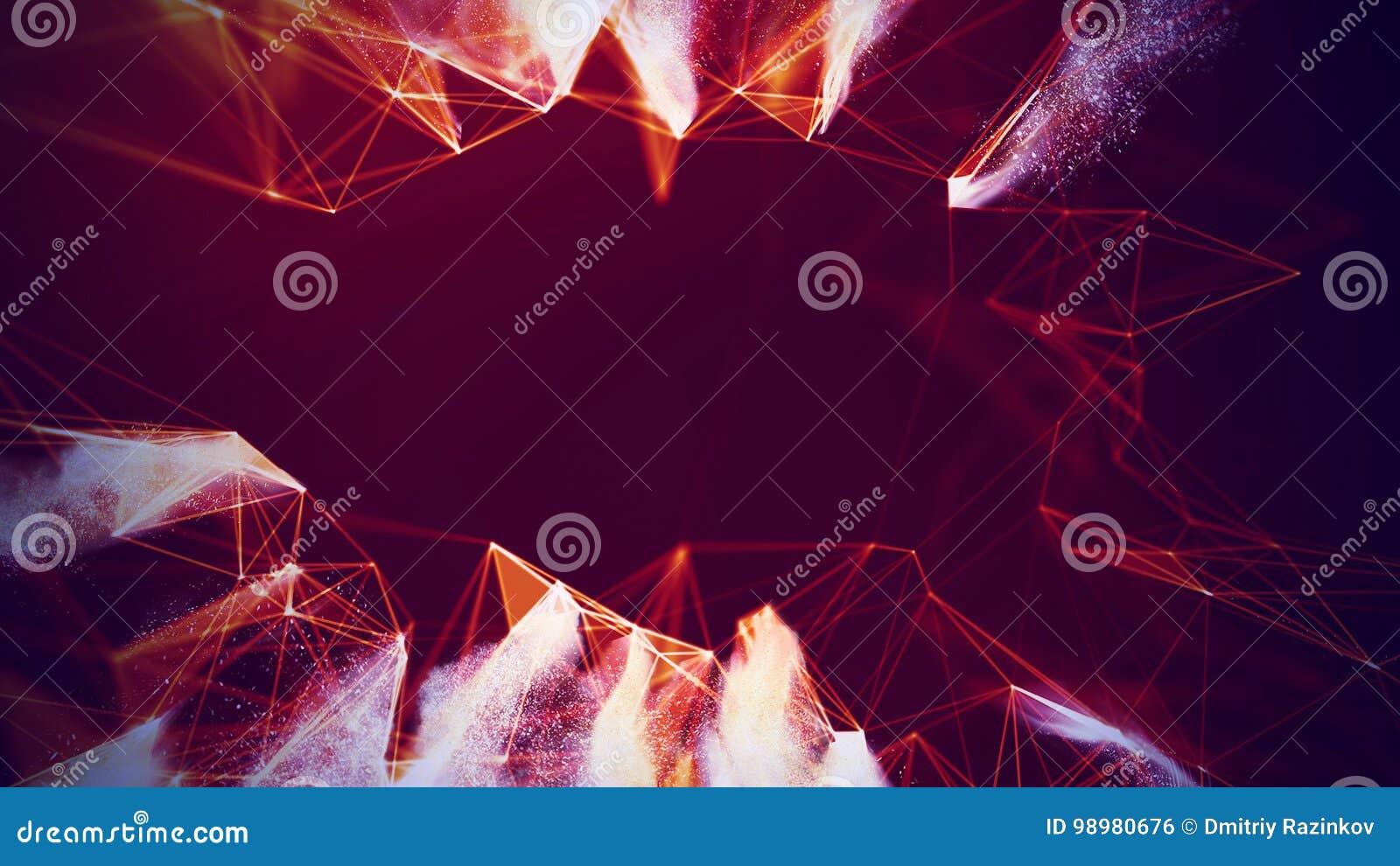 抽象红色几何背景 连接结构 科学背景 未来派技术HUD元素