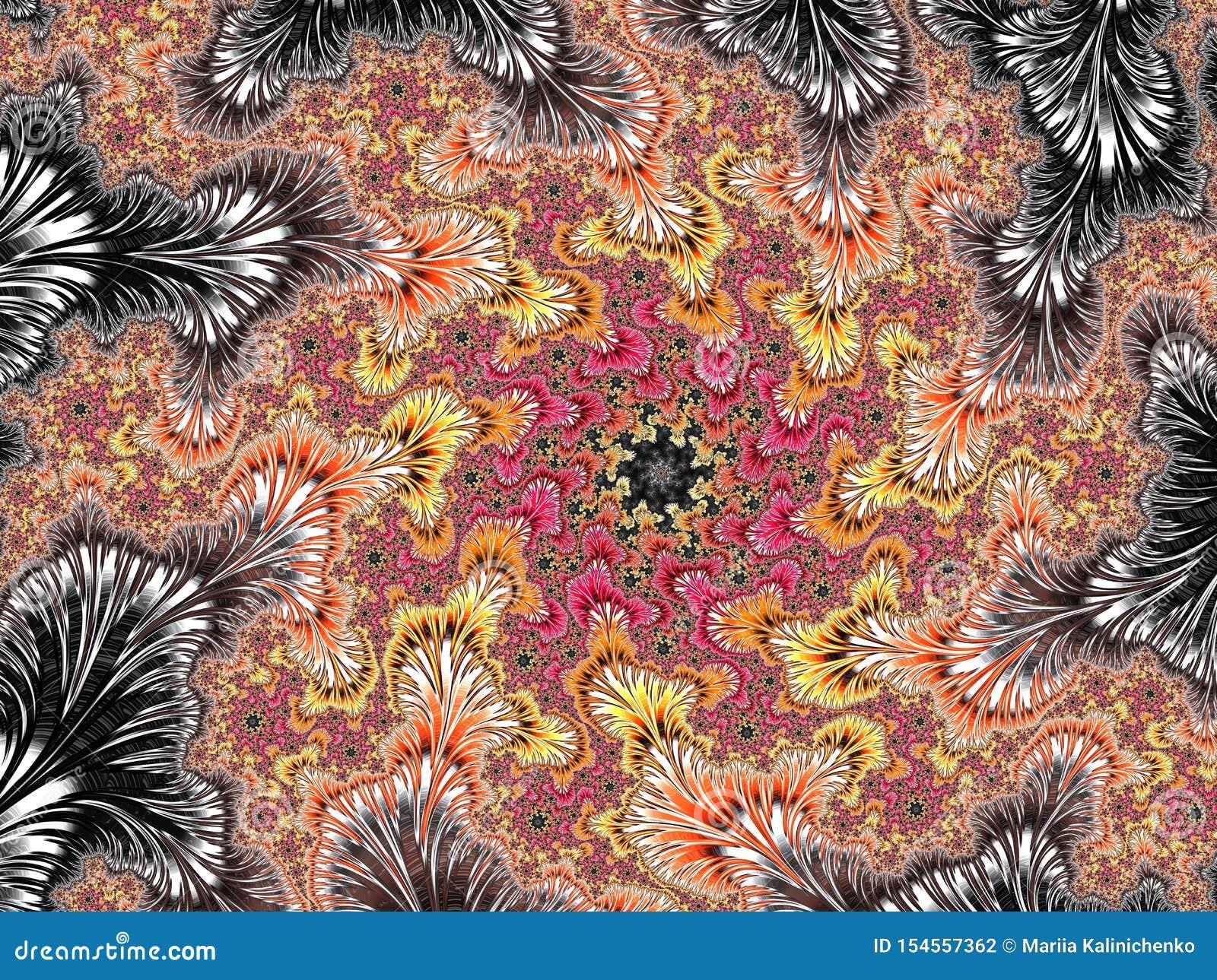 抽象红色,黄色和银色织地不很细螺旋分数维样式,3d为海报、设计和娱乐回报 r