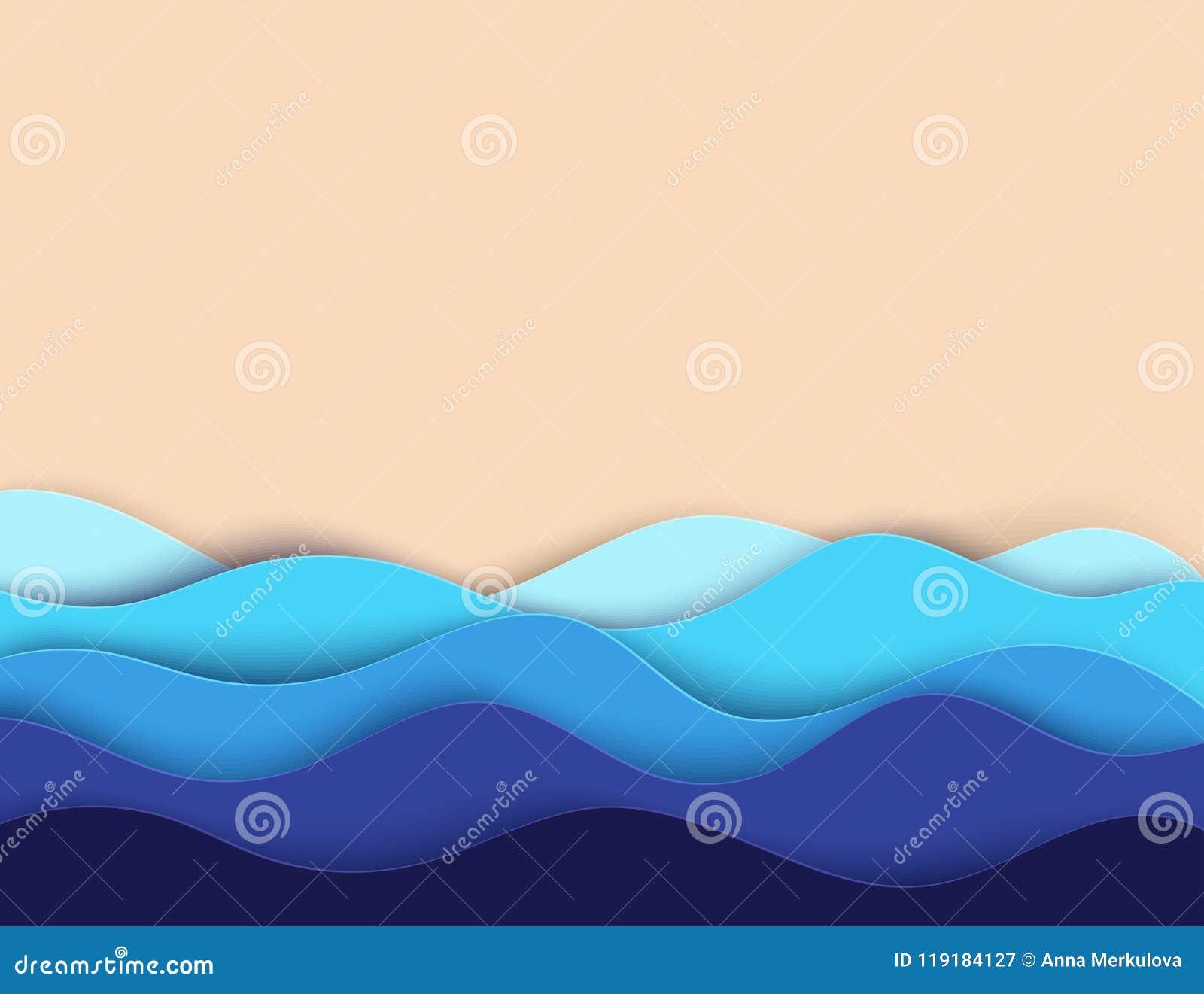 抽象纸艺术海或海洋水波和海滩 夏天