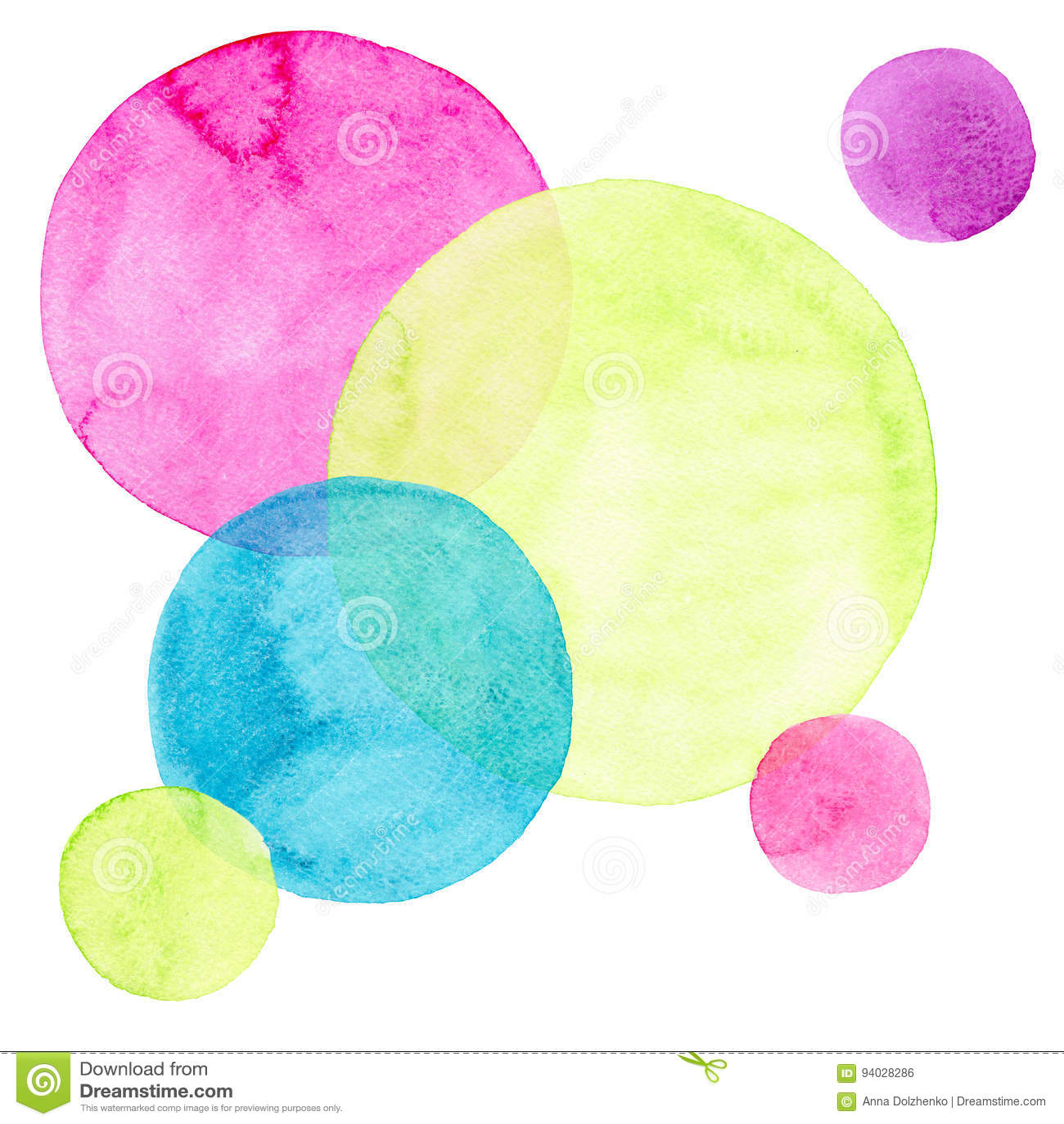 抽象美好的艺术性的嫩美妙的透明明亮的五颜六色的圈子不同的形状仿造水彩