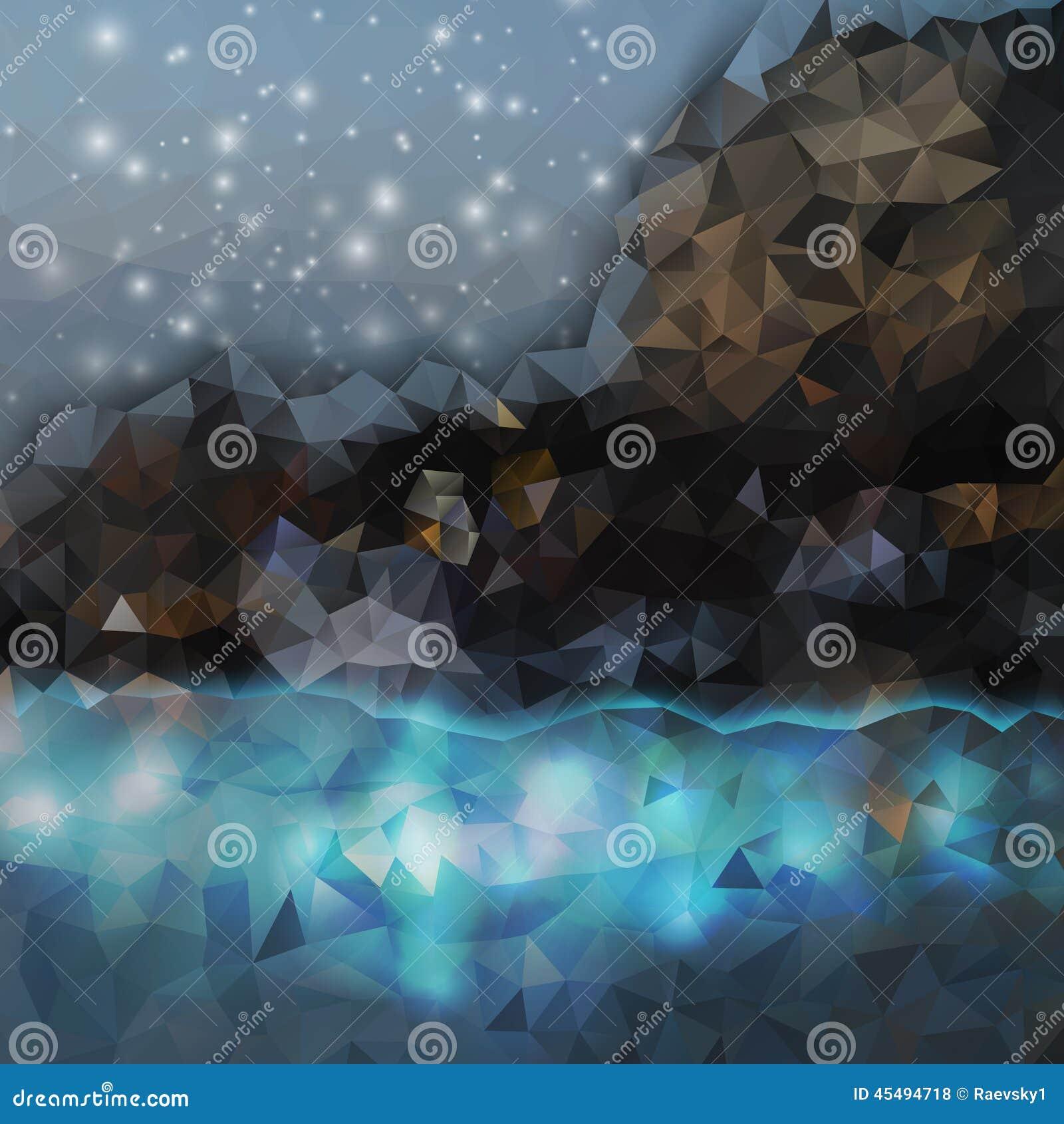 抽象背景上色了 山和海运