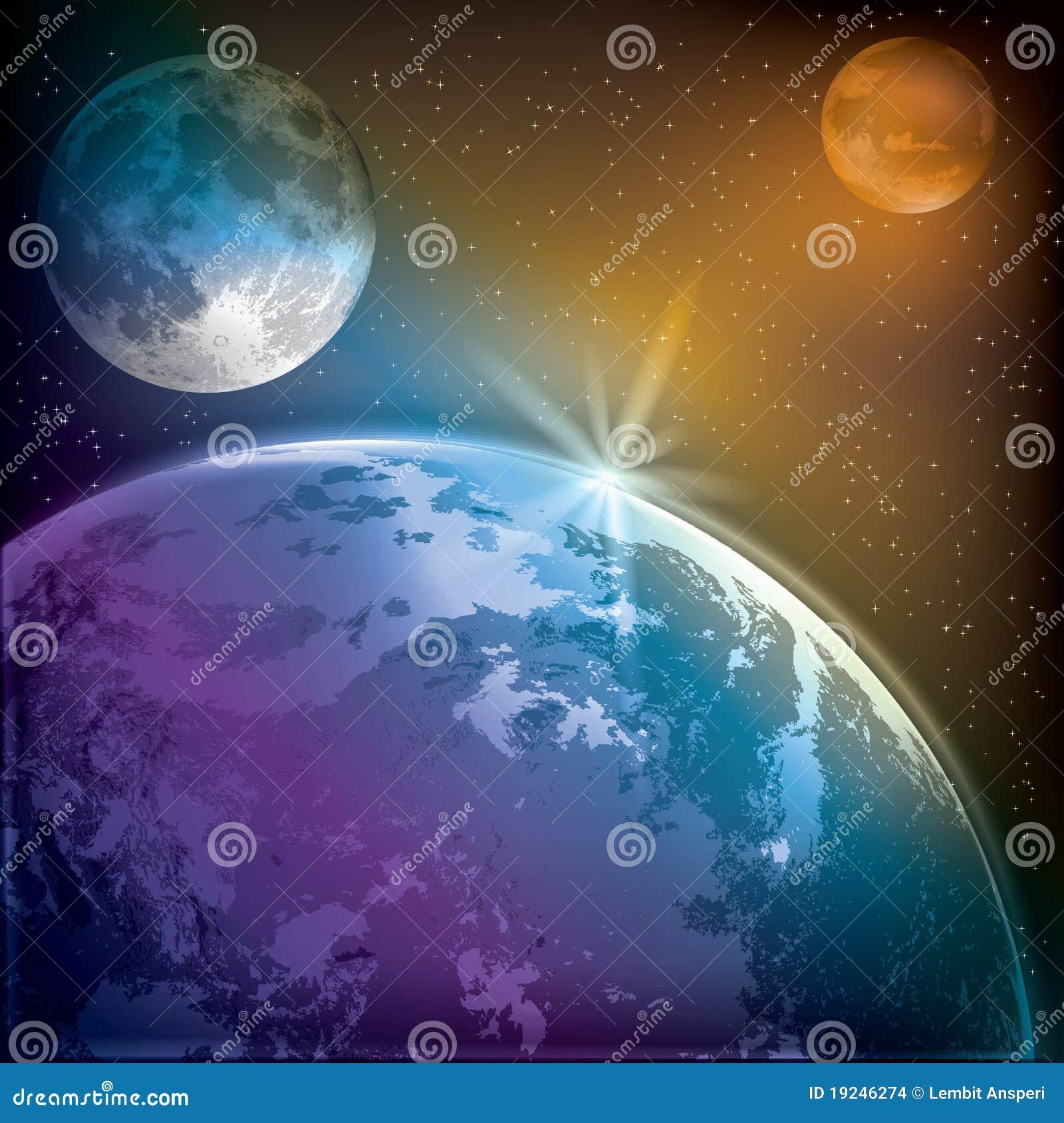 抽象背景地球毁损月亮图片