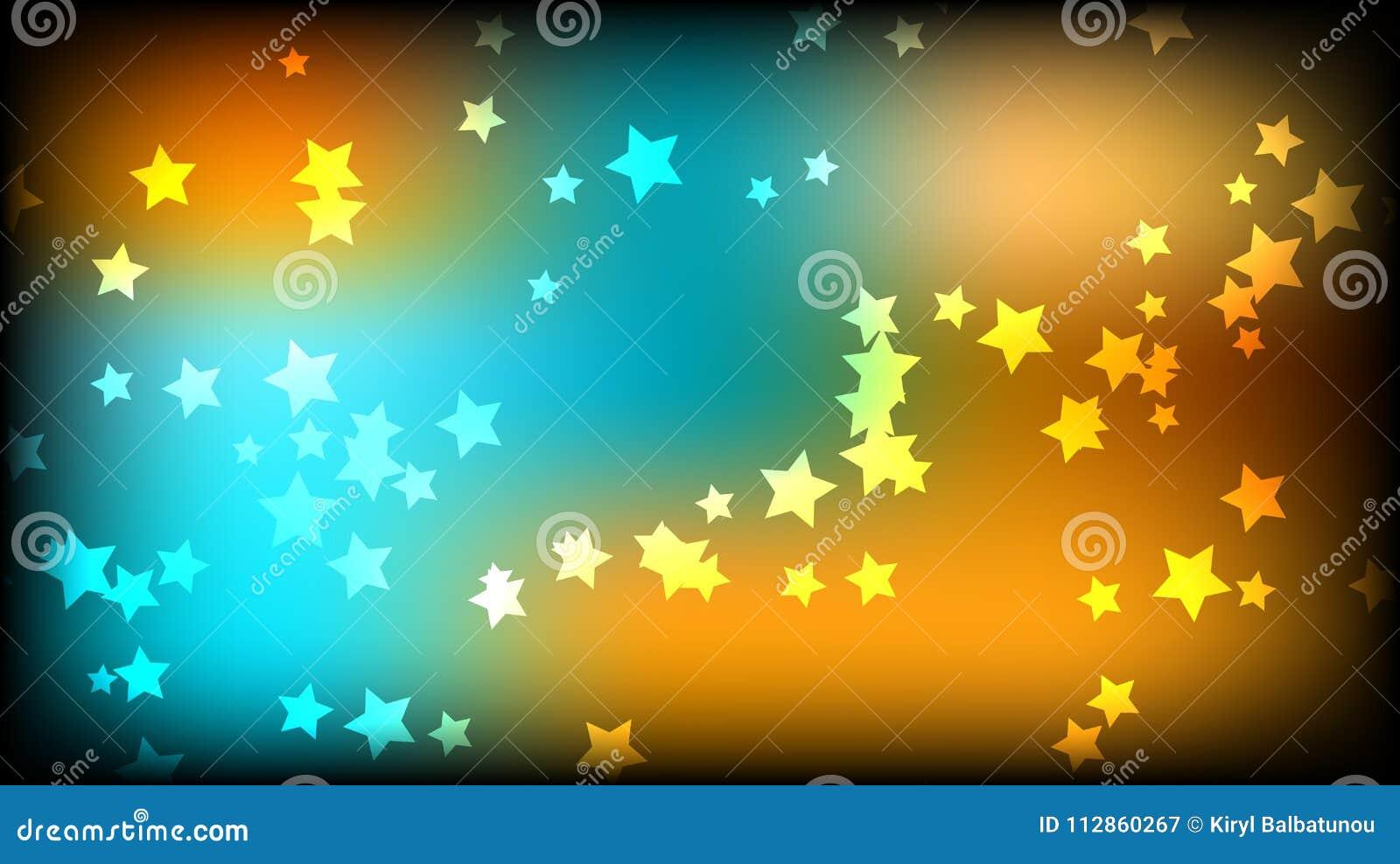 抽象背景空间 在黄色和蓝色背景的多彩多姿的星号